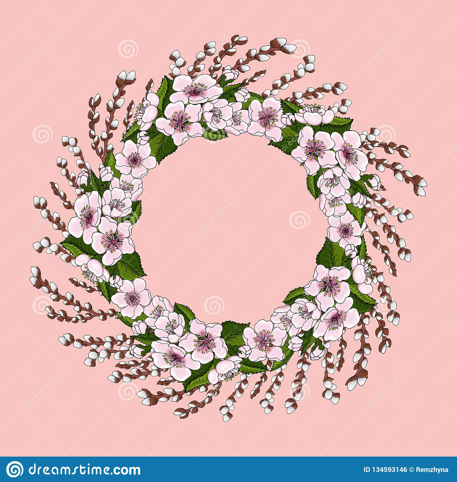 A lush wreath of pink cherry flowers and bright green cherry leaves along with young willow branches.нета