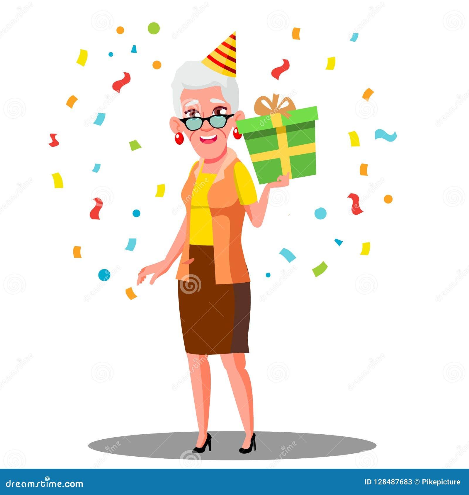Lustige Alte Frau Feiern Geburtstag Im Partei Kappen Und Konfetti