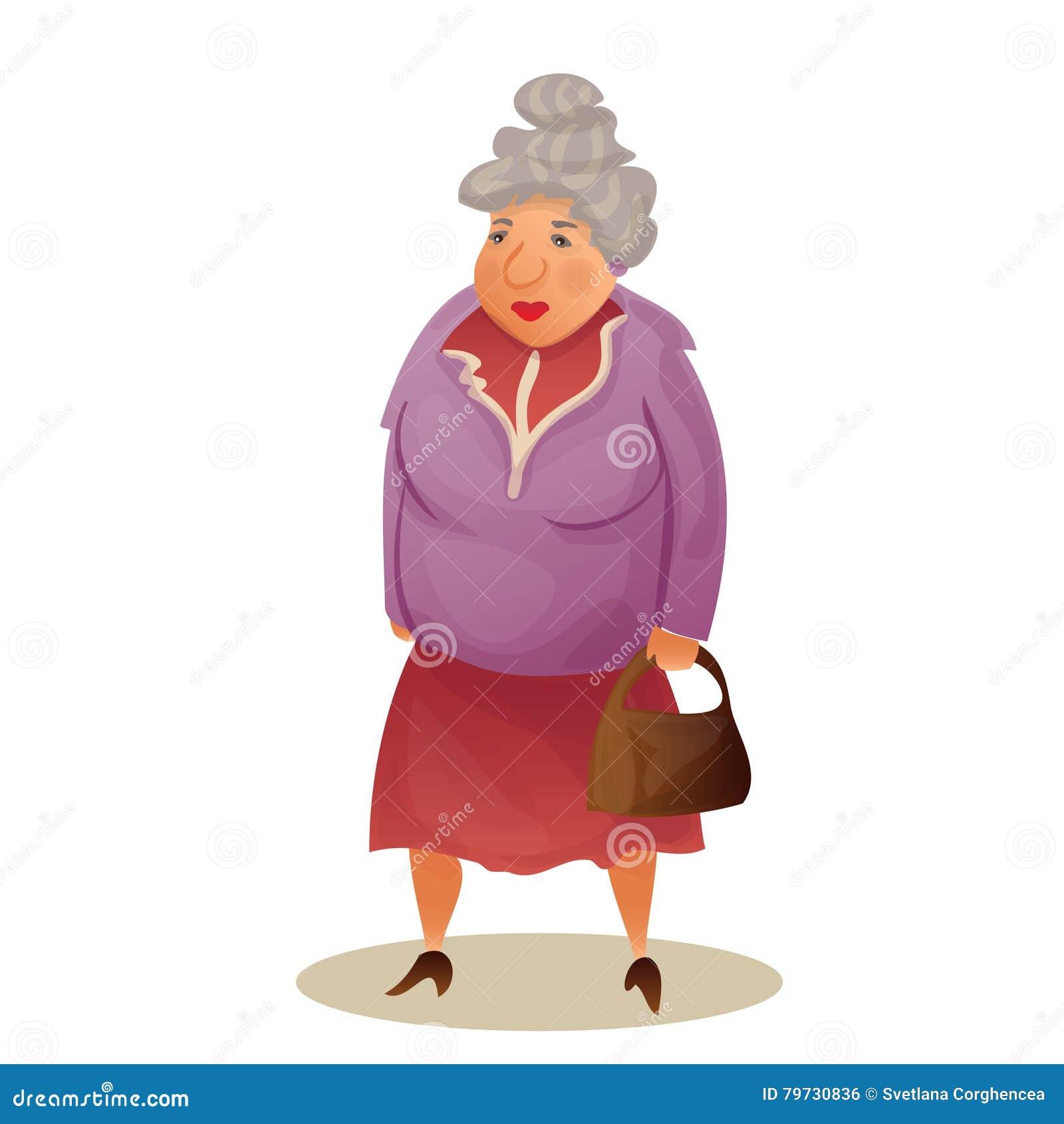 Lustige Alte Frau Mit Tasche Großmuttergehen Bunte Karikatur Vektor Abbildung Illustration Von Tasche Frau 79730836