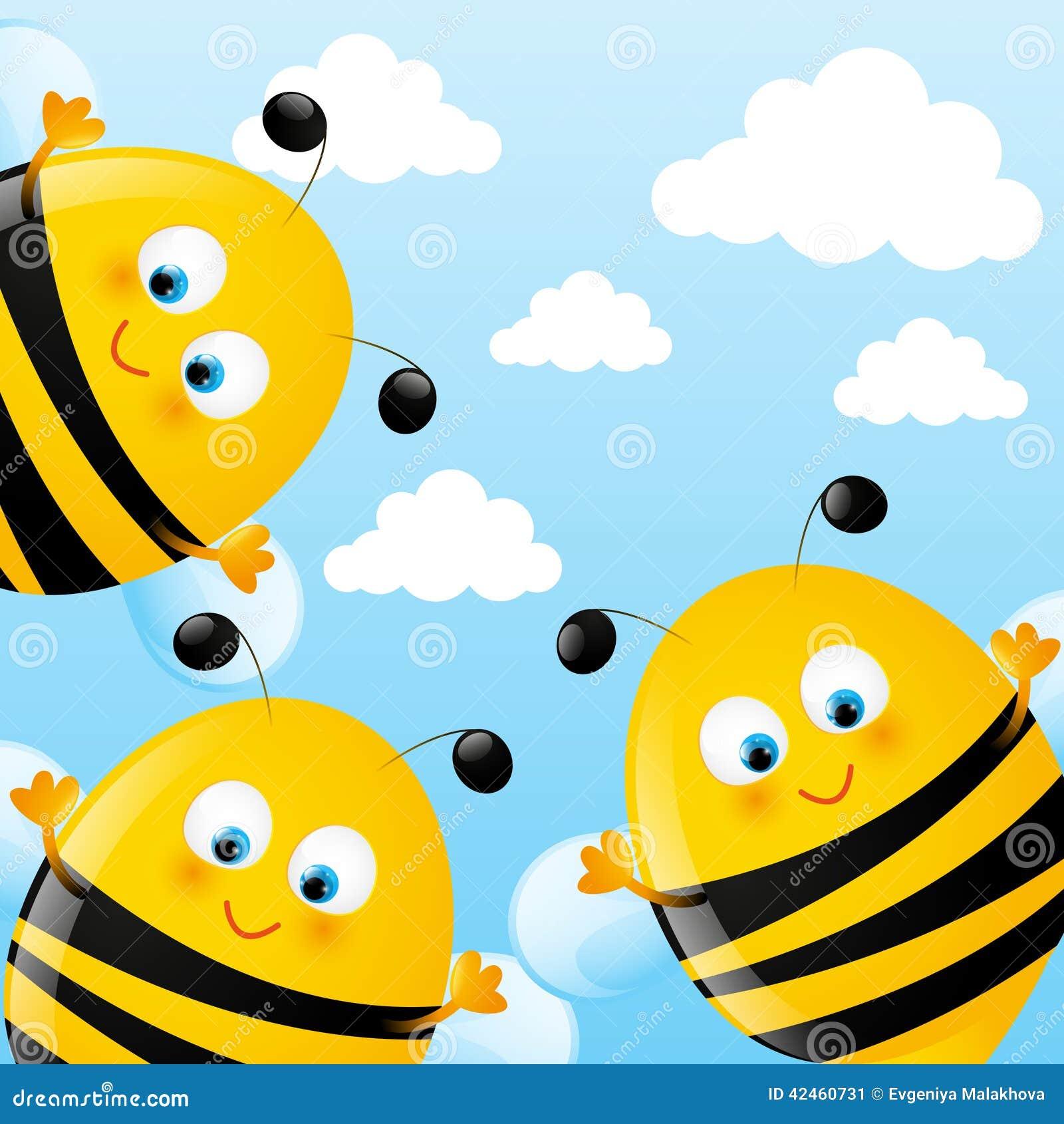 Lustige Bienen vektor abbildung. Illustration von weiß ...