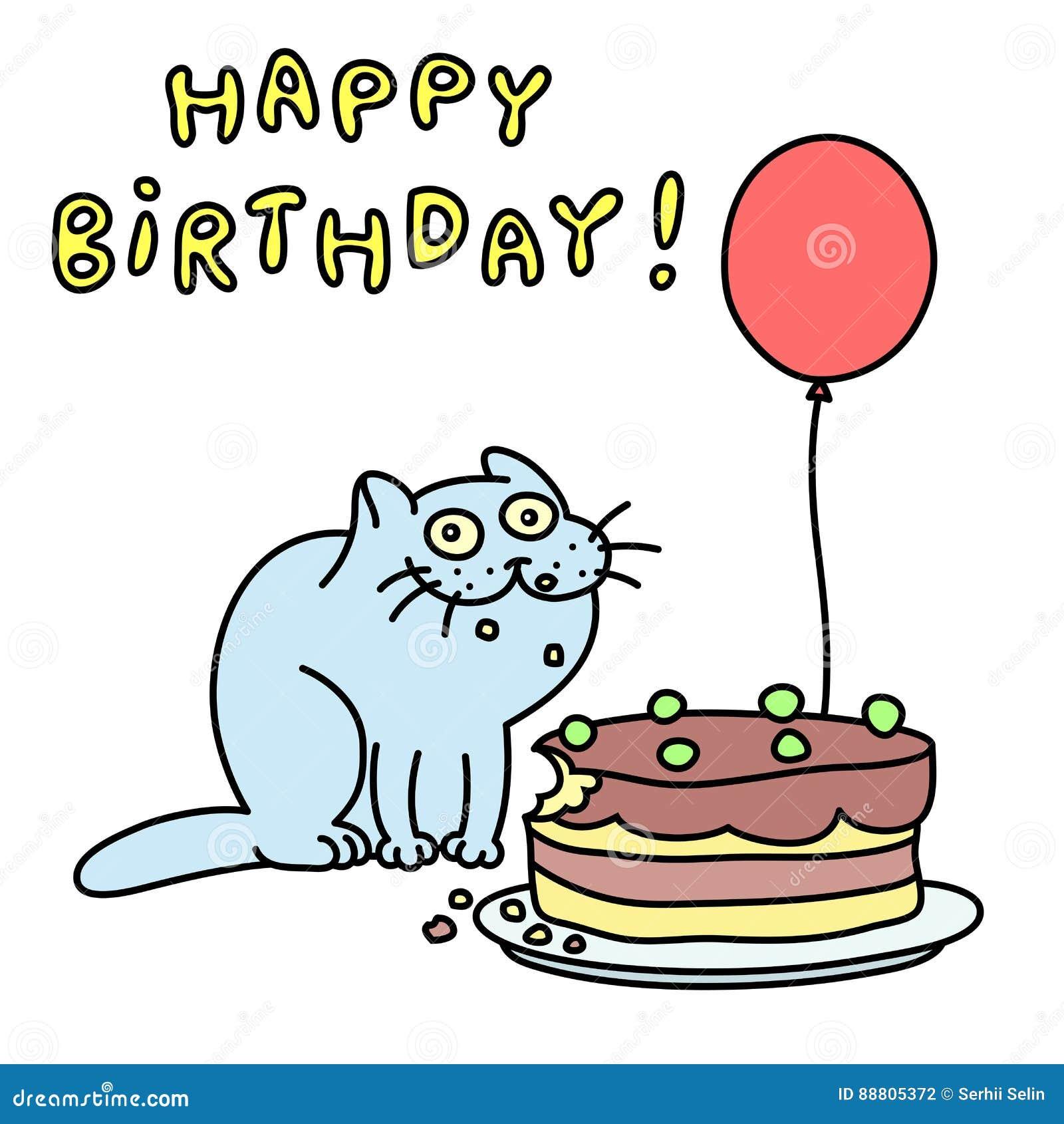 Lustige Blaue Katze Alles Gute Zum Geburtstag Auch Im Corel