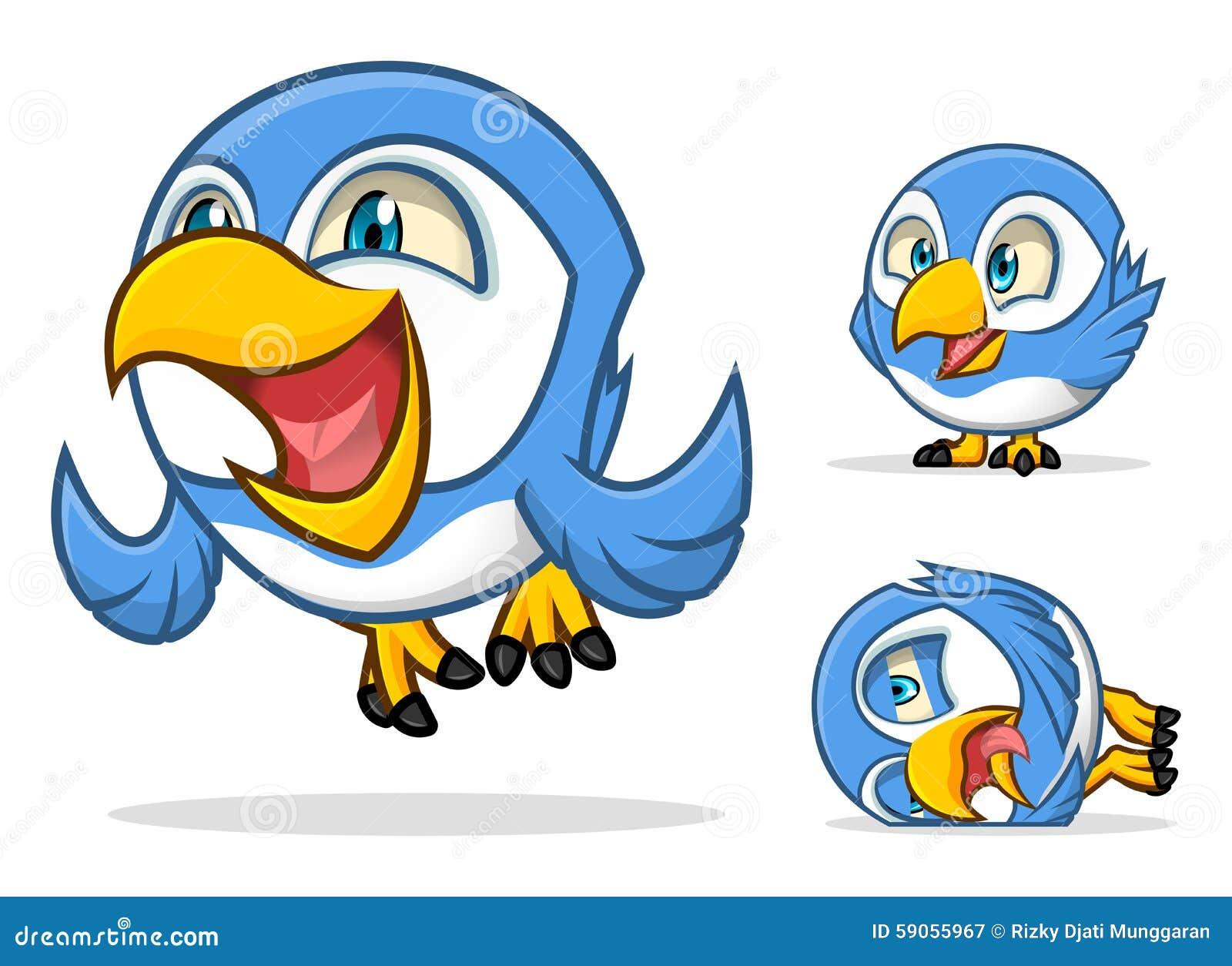 Lustige Blaue Vogel Zeichentrickfilm Figur Vektor Abbildung