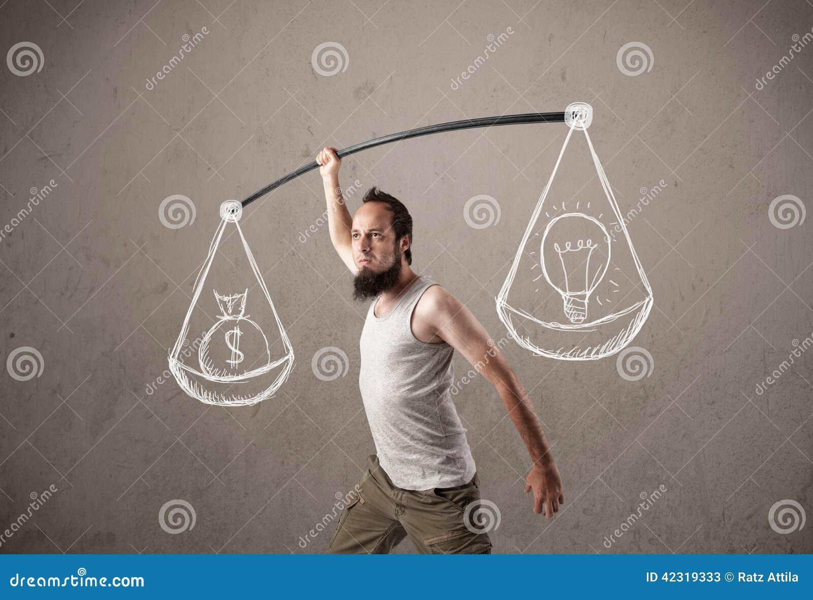 Lustige dünne Männer, die versuchen, ausgeglichen zu erhalten