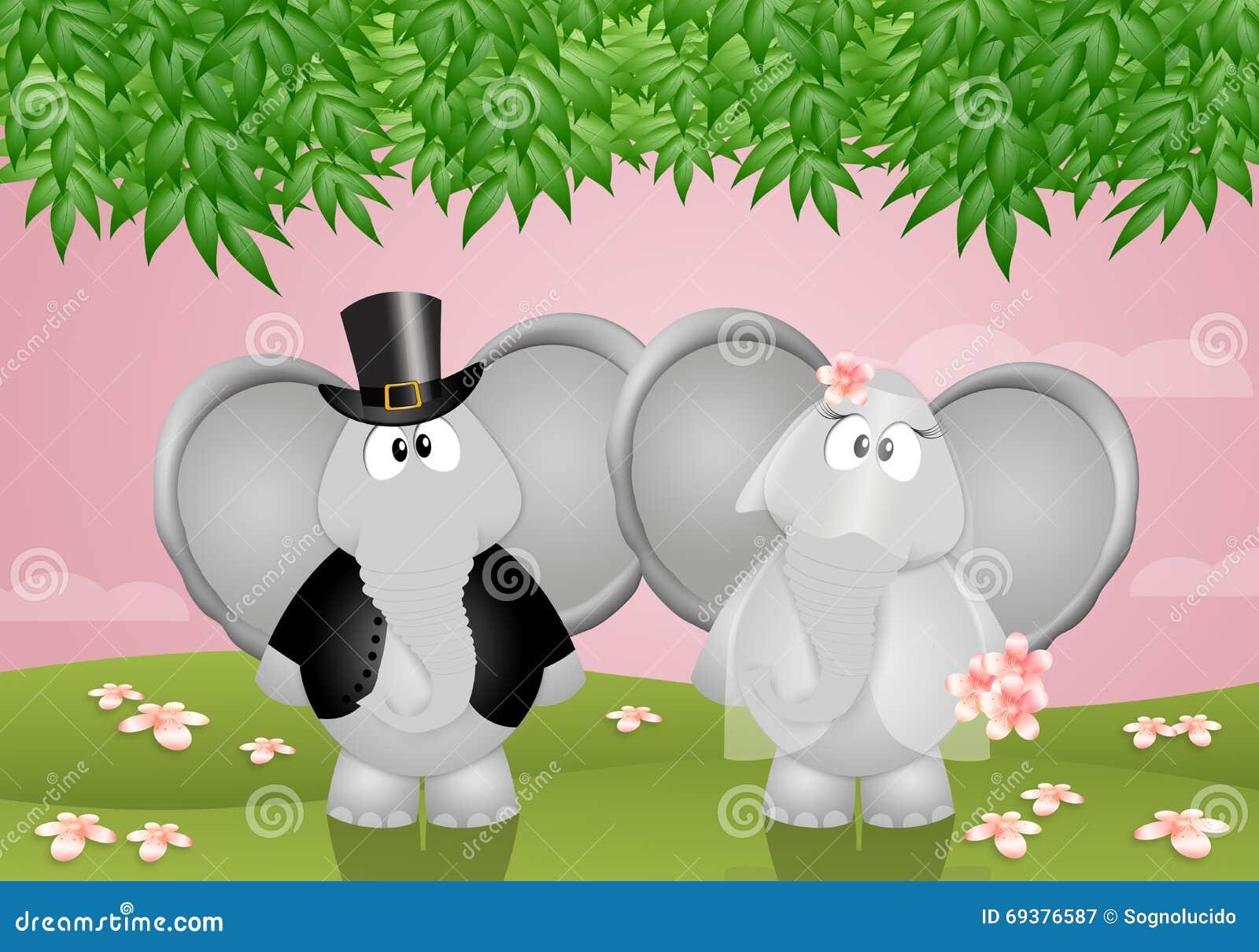 lustige elefanten geheiratet stock abbildung bild 69376587. Black Bedroom Furniture Sets. Home Design Ideas