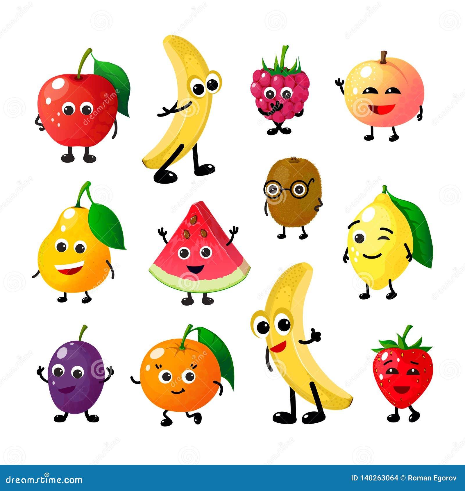 Lustige Früchte der Karikatur Glückliche Apfelbananen-Himbeerpfirsichbirnenwassermelonenzitronen-Erdbeergesichter Fruchtbeerenvek