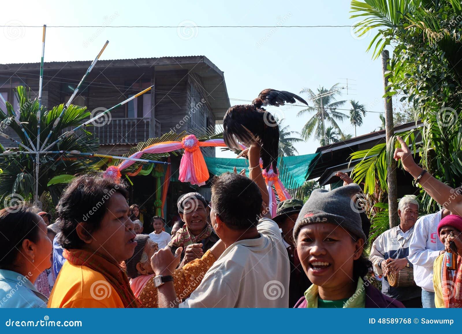 Lustige Geburtige Kultur Der Hochzeitszeremonie In Buriram Thailand