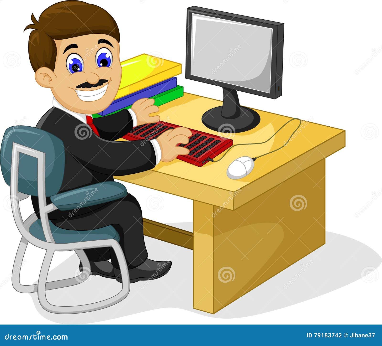 Lustige Geschaftsmannkarikatur Die In Seinem Schreibtisch Arbeitet
