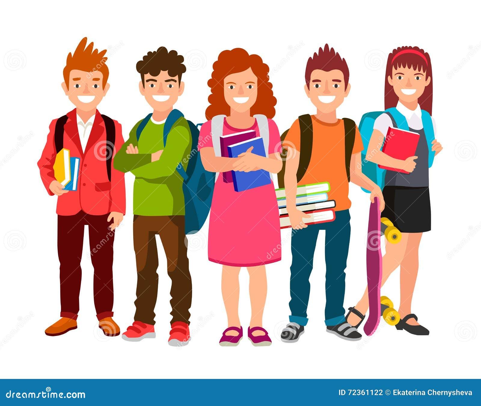 Lustige Gruppe Schulkinder Mit Rucksäcken Und Lehrbüchern Vektor ...