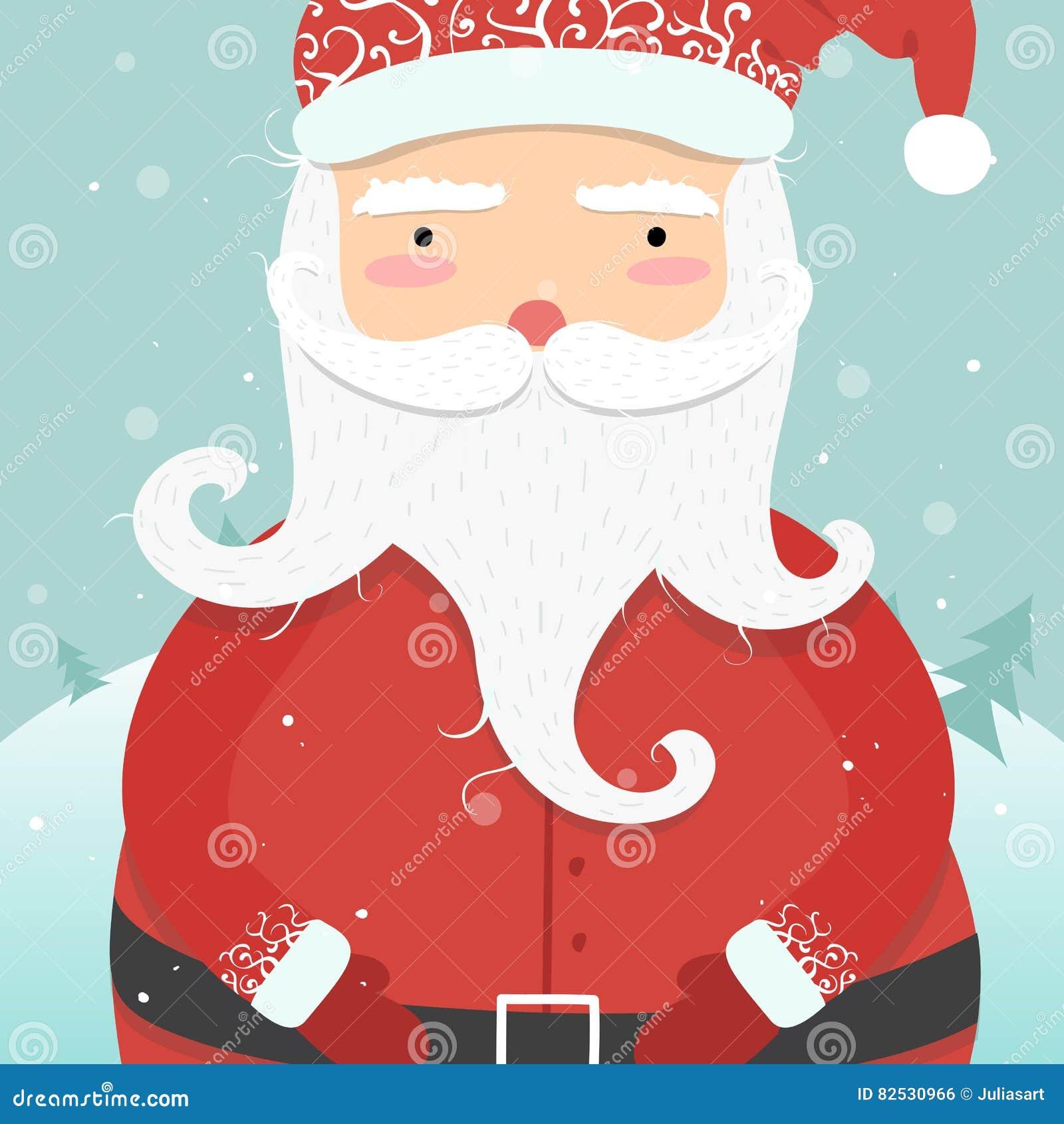 Bilder Weihnachten Lustig.Lustige Karikatur Weihnachtsmann Winterwaldhintergrund Weihnachten