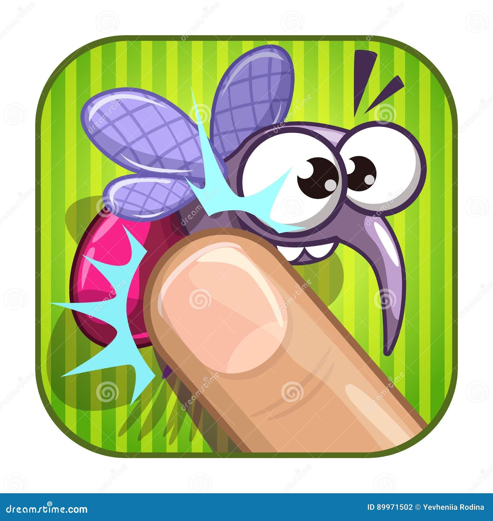 Lustige komische APP-Ikone mit gequetschtem Moskito
