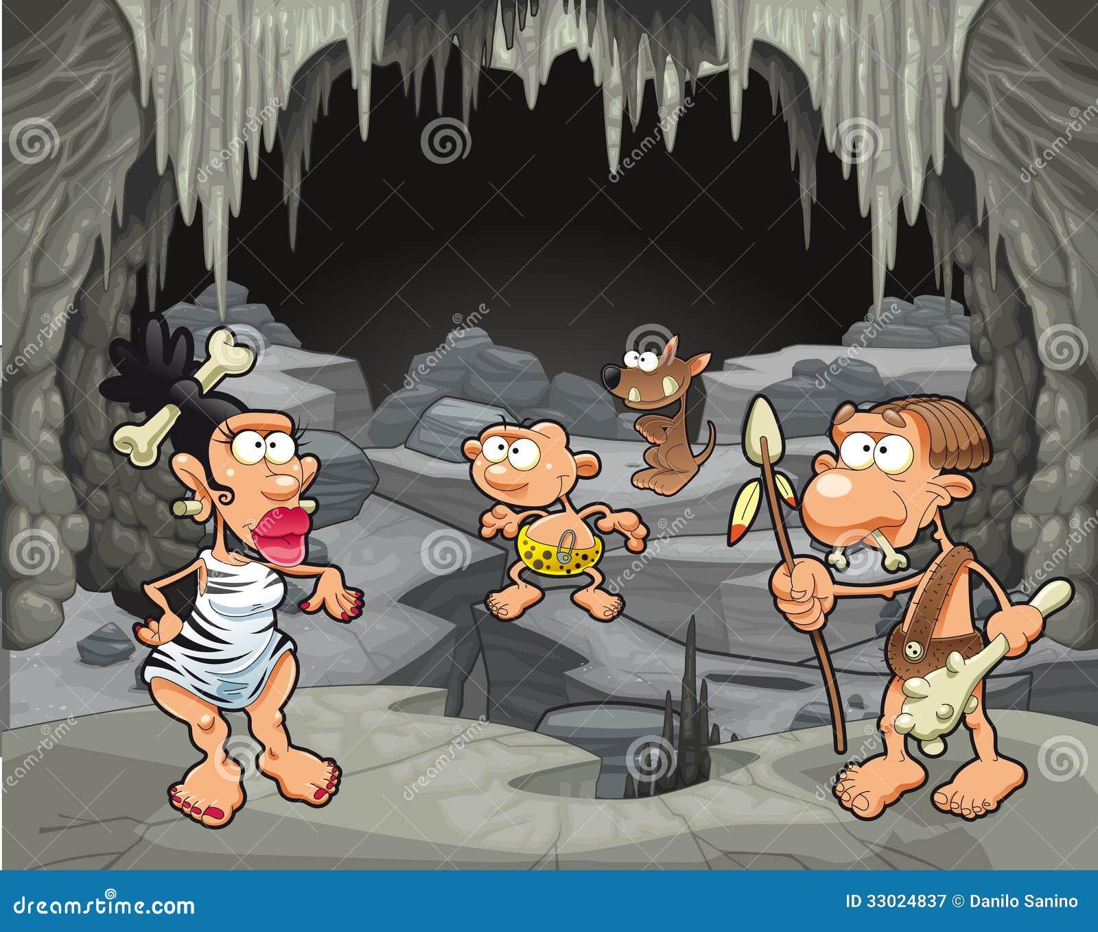 Lustige Prähistorische Familie In Der Höhle Vektor Abbildung
