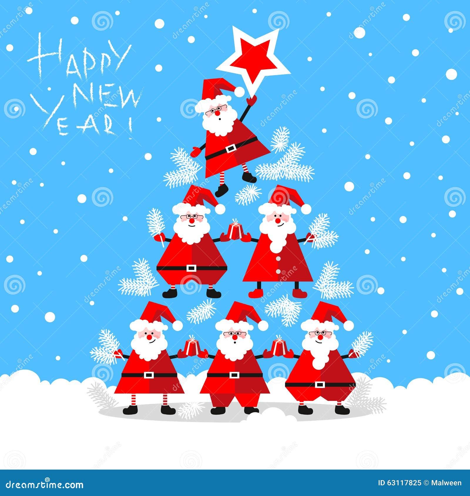 Tannenbaum Lustig.Lustige Santa Clauses Die Tannenbaum Bildet Vektor Abbildung