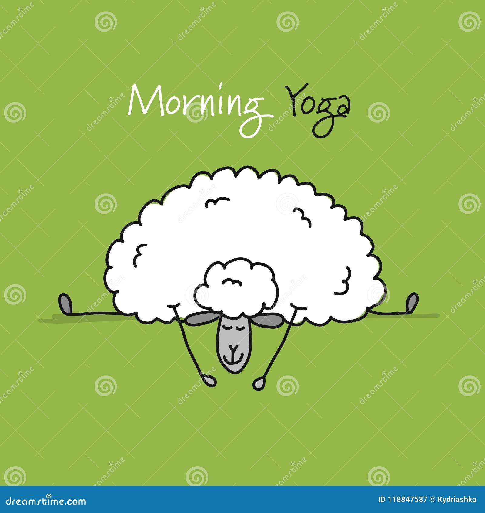 Lustige Schafe Die Yoga Skizze Fur Ihr Design Tun Vektor Abbildung