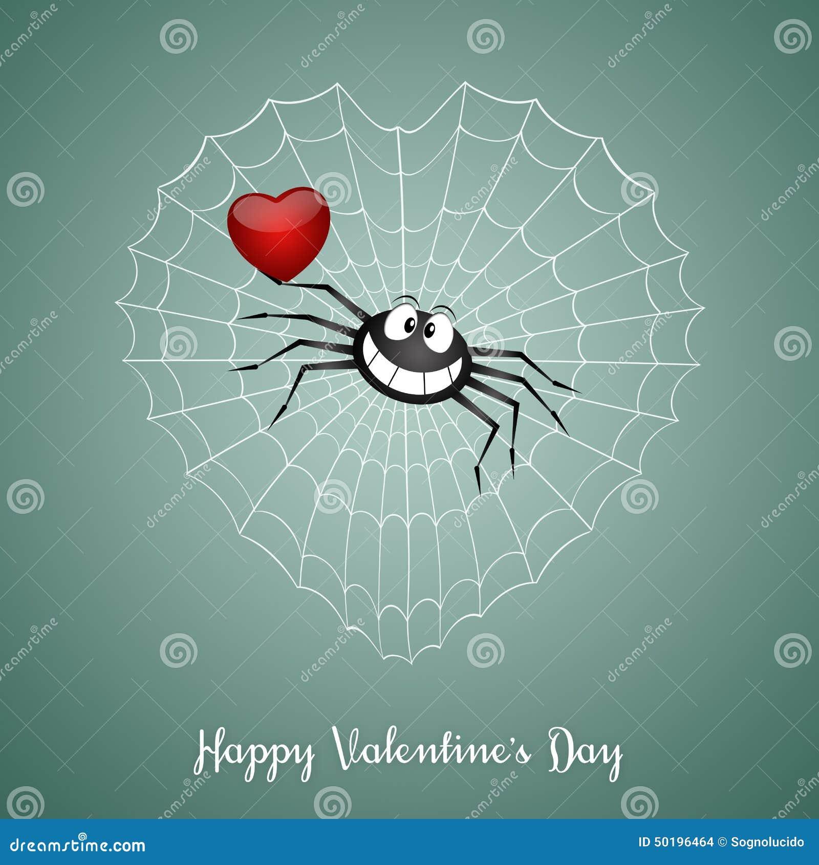 Lustige Spinne Im Valentinstag Stock Abbildung - Bild: 50196464