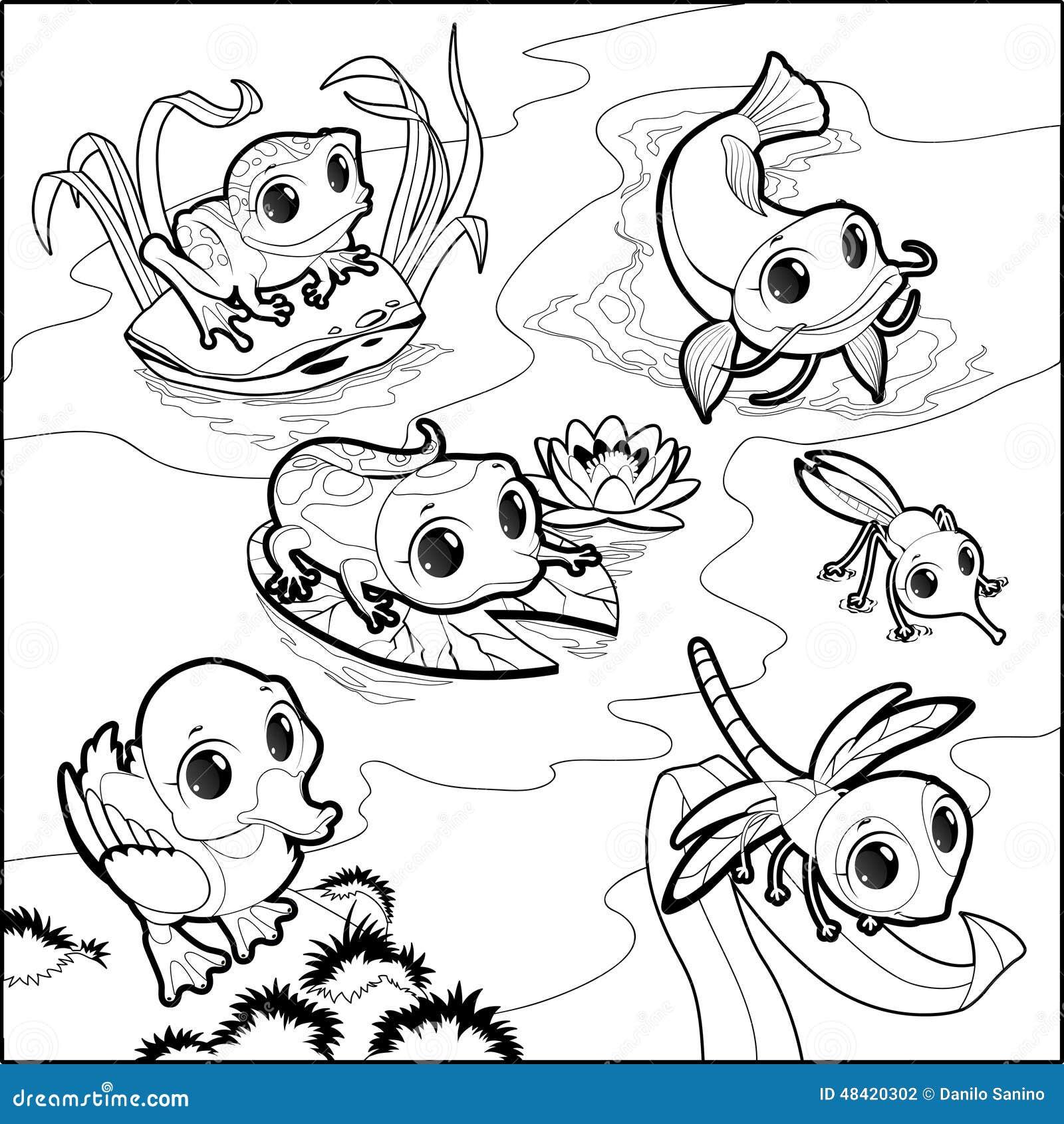 lustige tiere im teich vektor abbildung bild von karikatur 48420302. Black Bedroom Furniture Sets. Home Design Ideas