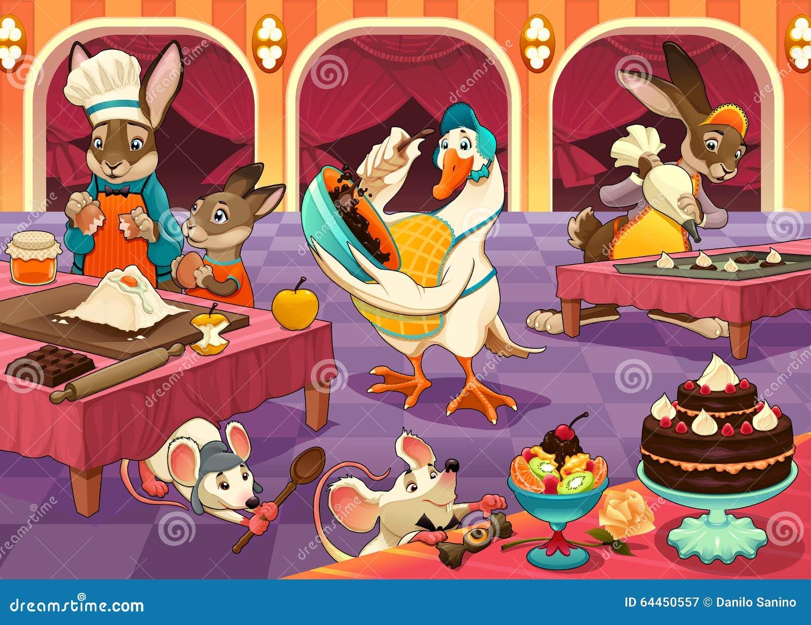 lustige tiere kochen kuchen und pl tzchen vektor abbildung bild 64450557. Black Bedroom Furniture Sets. Home Design Ideas