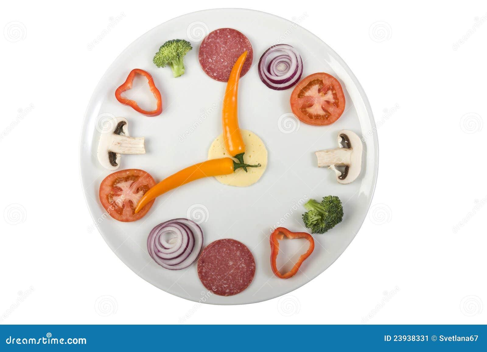 Lustige Uhr der Pizzabestandteile über Weiß.