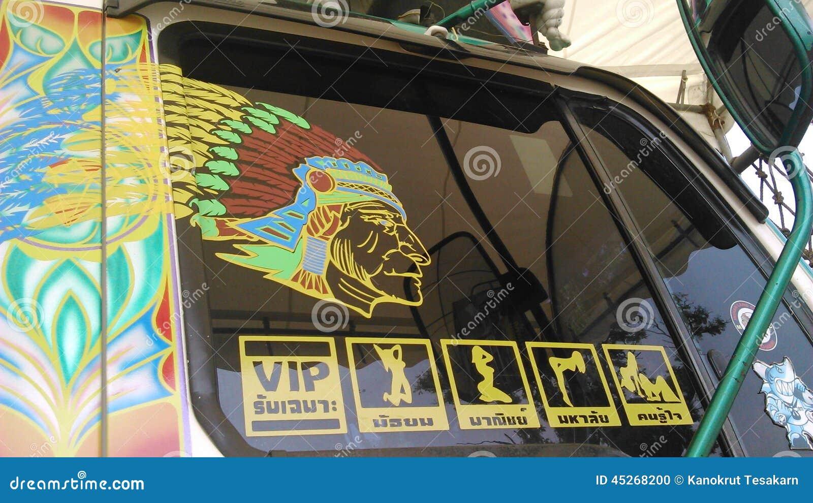 Lustige Und Komische Aufkleber Setzten An Lkw Fenster