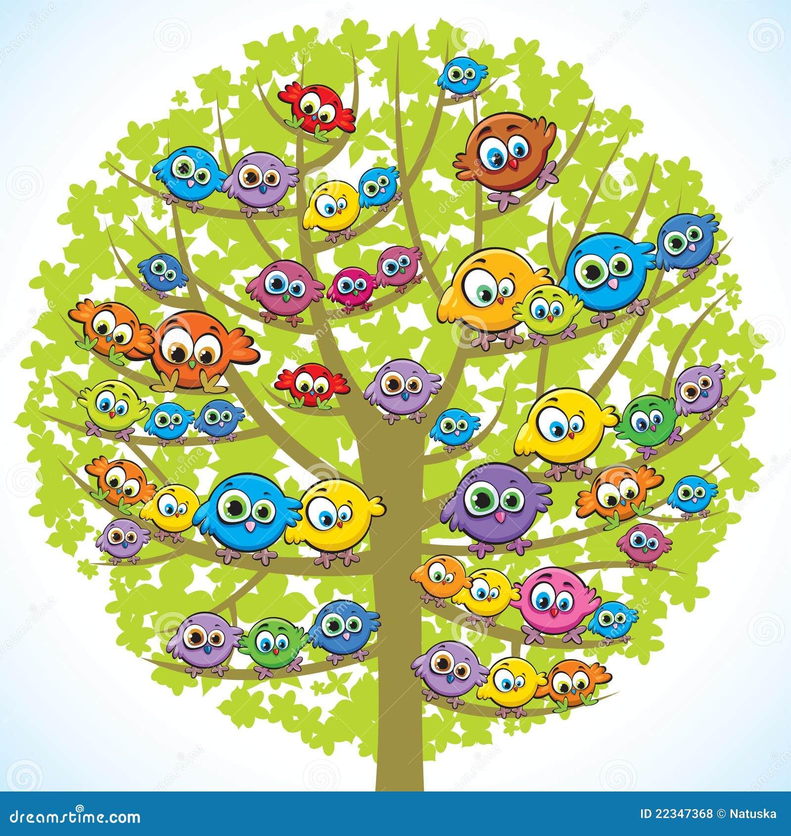 Lustige Vogel Und Baum Stock Abbildung Illustration Von Abbildung