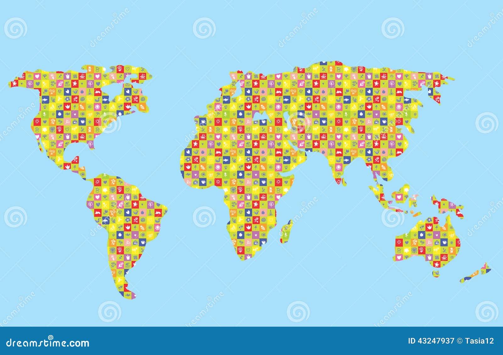 Lustige Weltkarte für Kinder