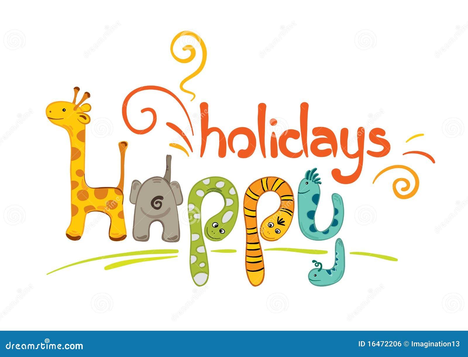 Vektorabbildung lustige tierzeichen frohe feiertage