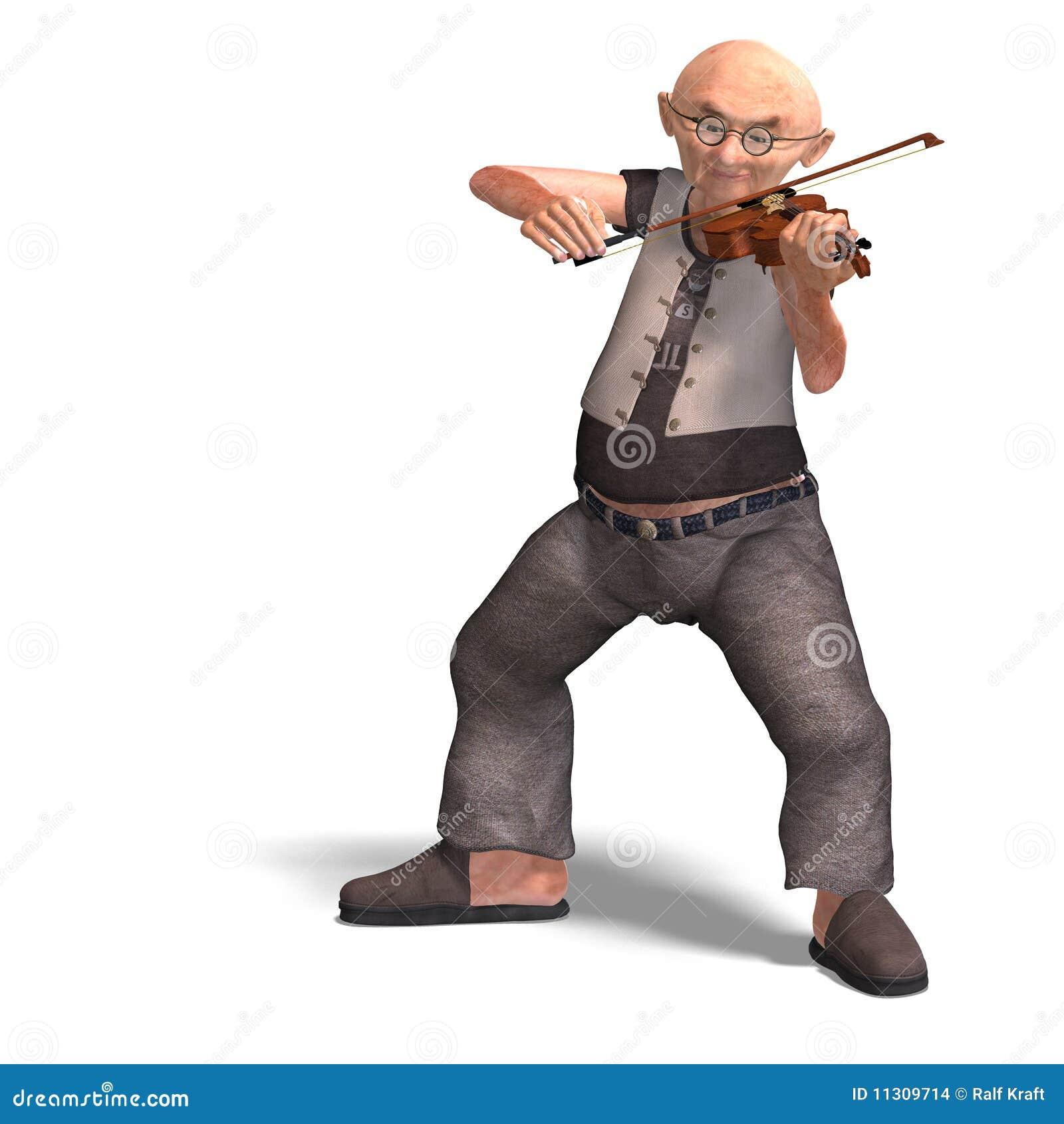 Lustiger Älterer spielt die Violine