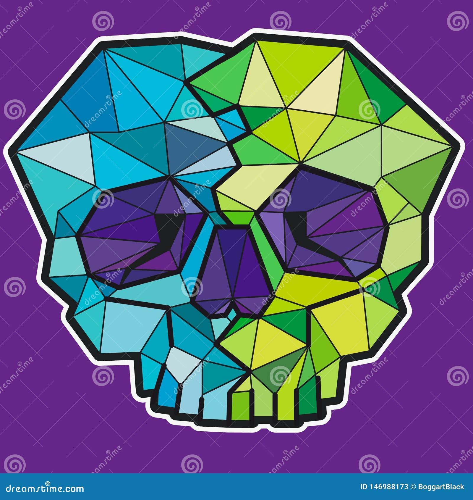 Lustiger geometrischer bunter Schädel Vektorikone oder -aufkleber