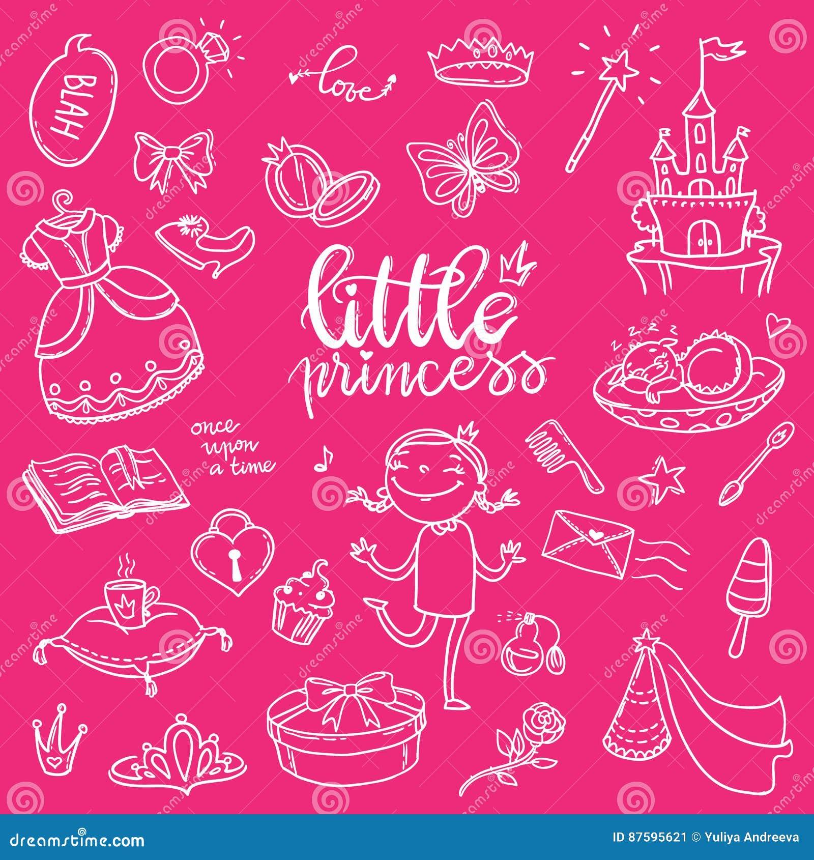 Lustiger Grafiksatz kleiner Prinzessin Mädchen Kleid, Schmetterling, mirro