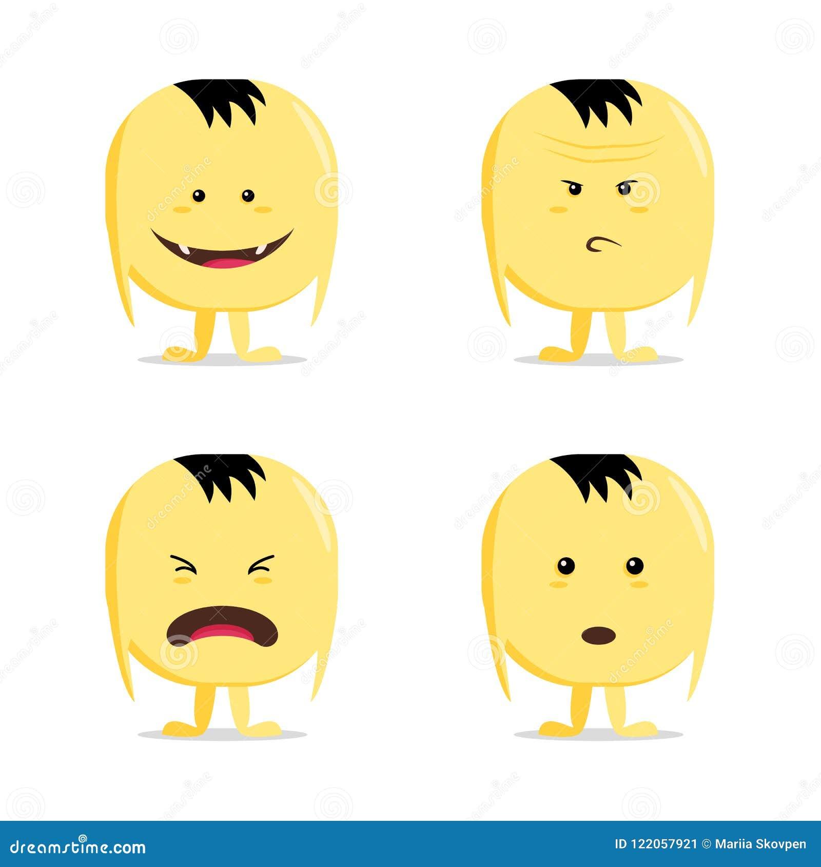 Lustiger Karikaturgelbzeichensatz, auf Weiß, Vektorgefühlaufkleber