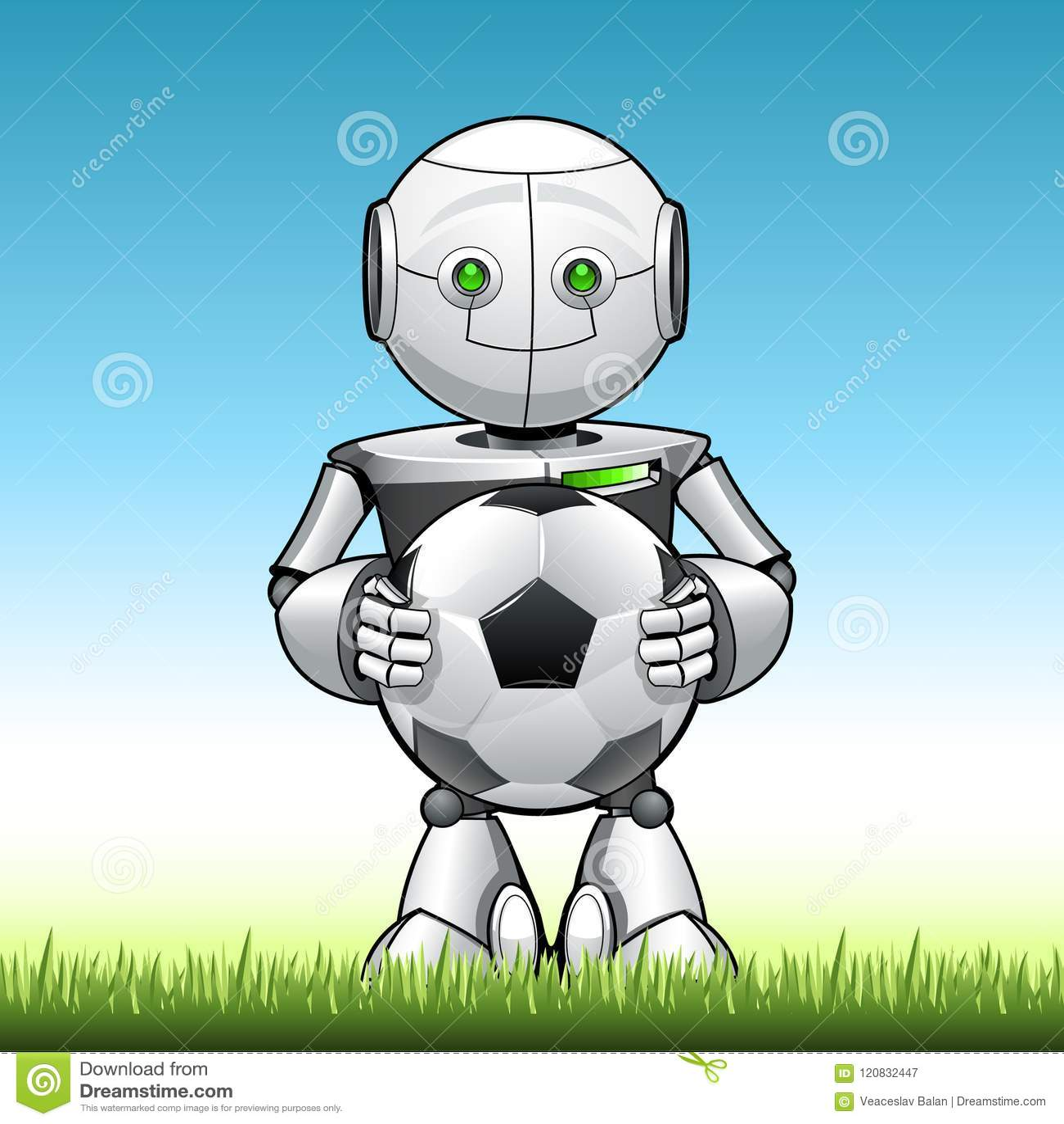 Lustiger Kinderroboter mit Fußball in seinem hend