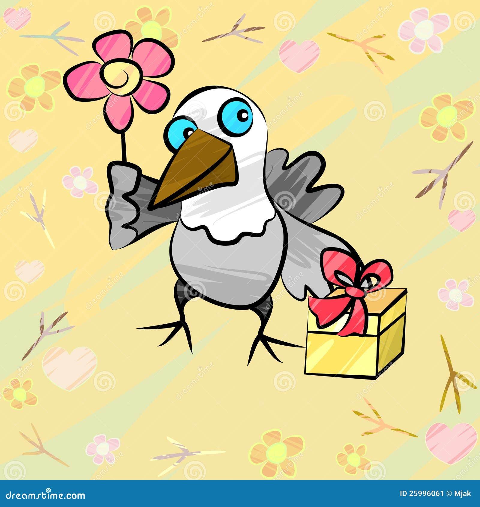 lustiger vogel mit geschenk und blume vektor abbildung
