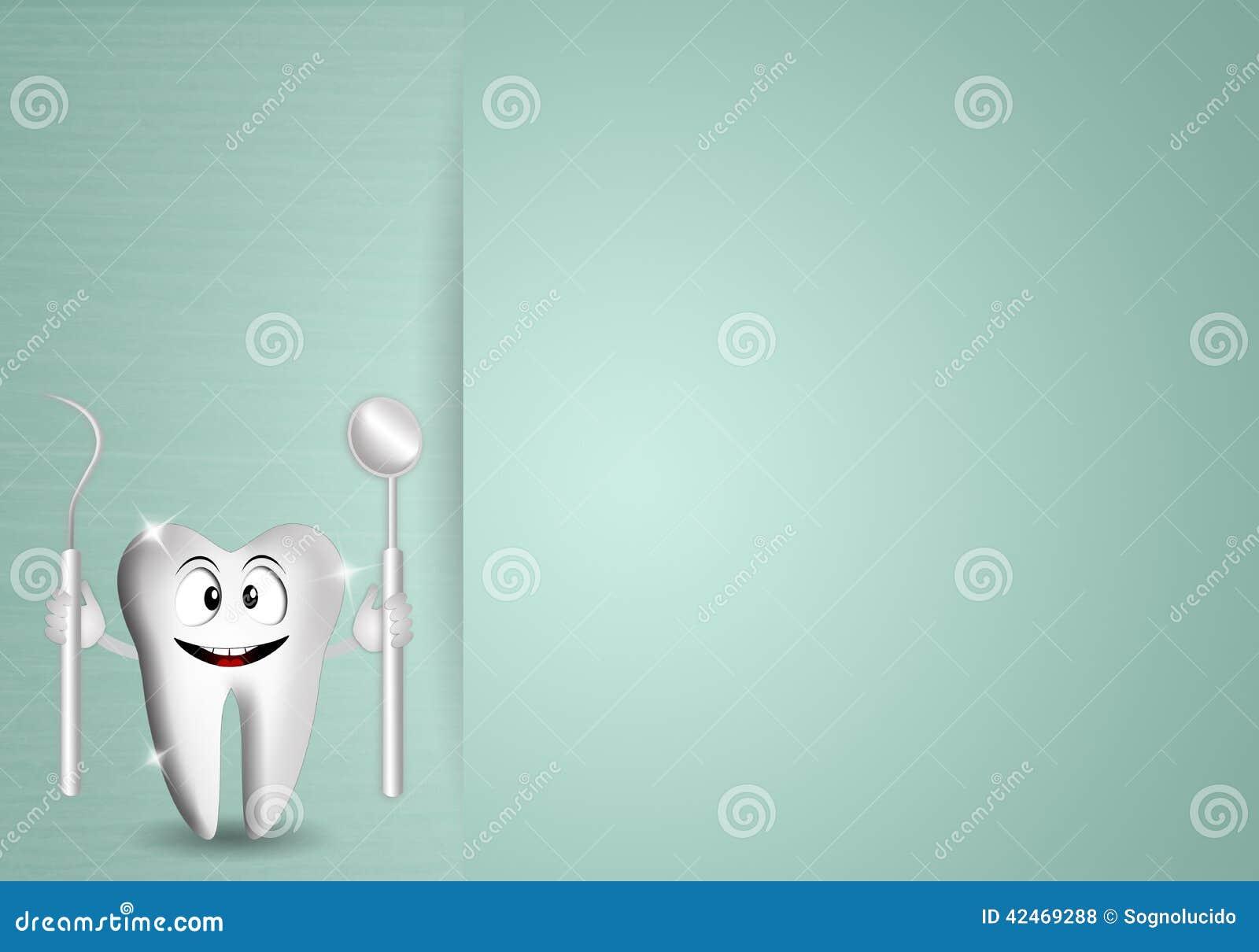 Lustiger Zahn mit Zahnarztwerkzeugen