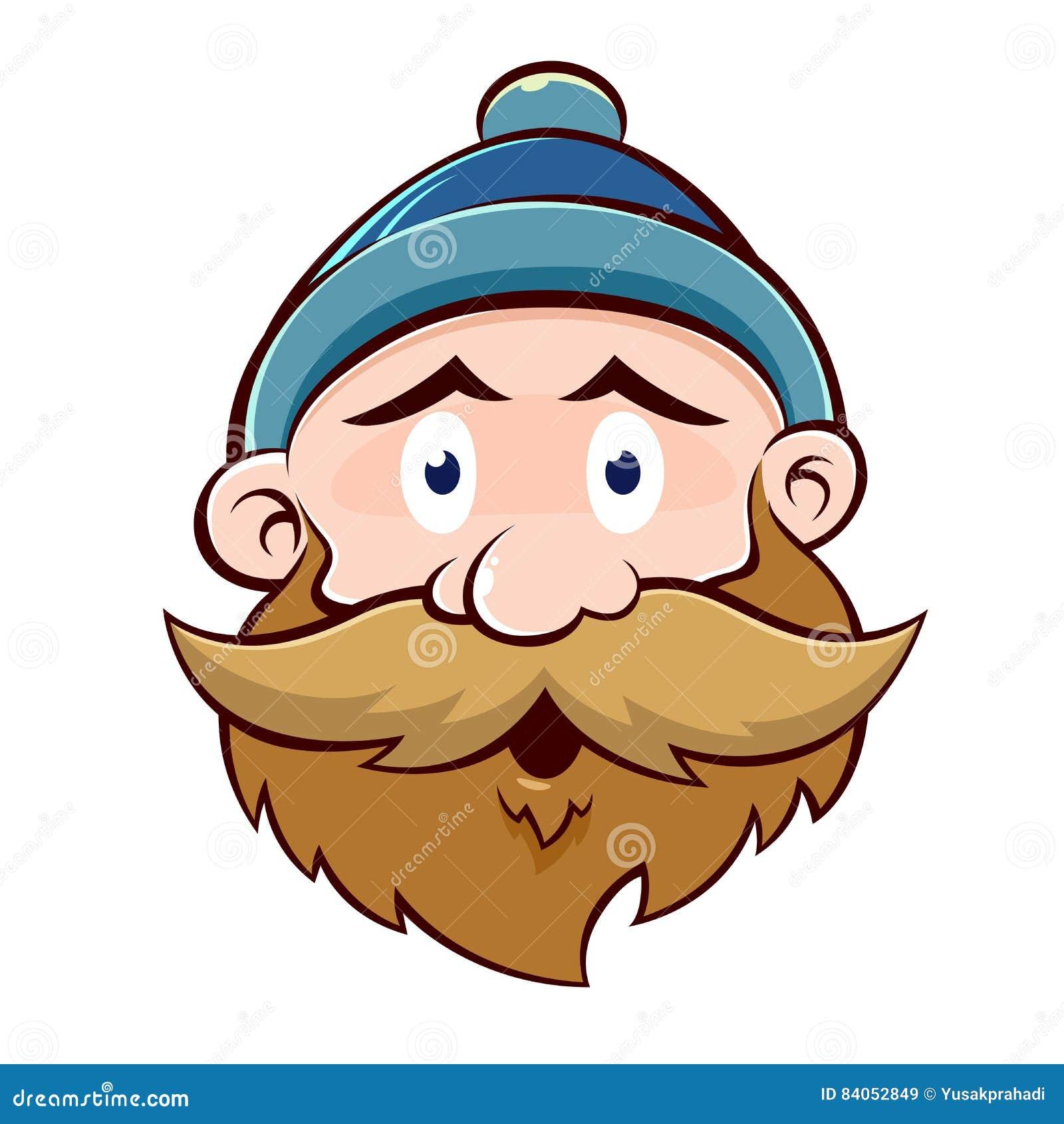 Lustiges Alter Mann Gesicht Mit Bart Und Dem Schnurrbart Vektor
