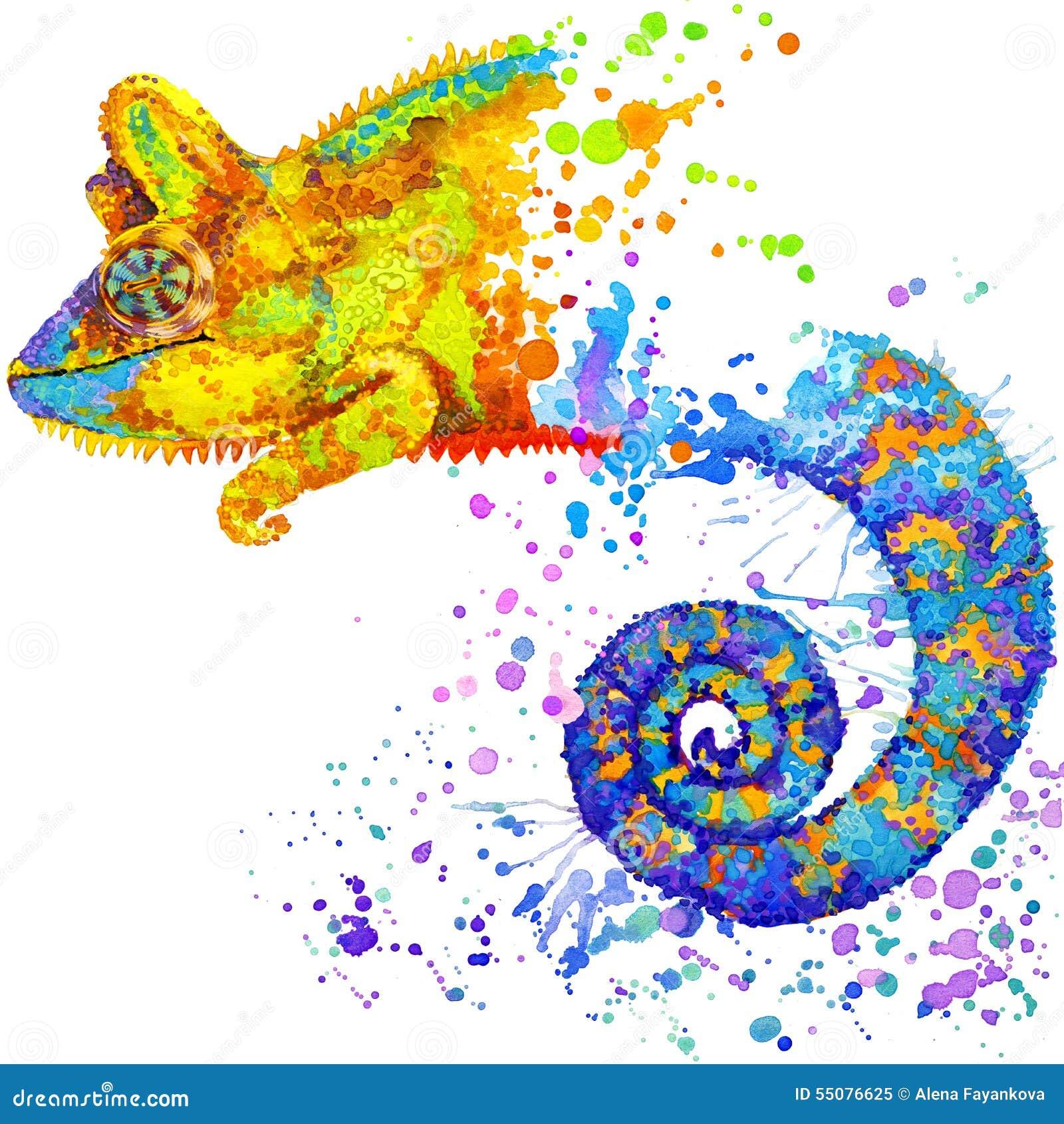 Lustiges Chamäleon mit dem Aquarellspritzen gemasert