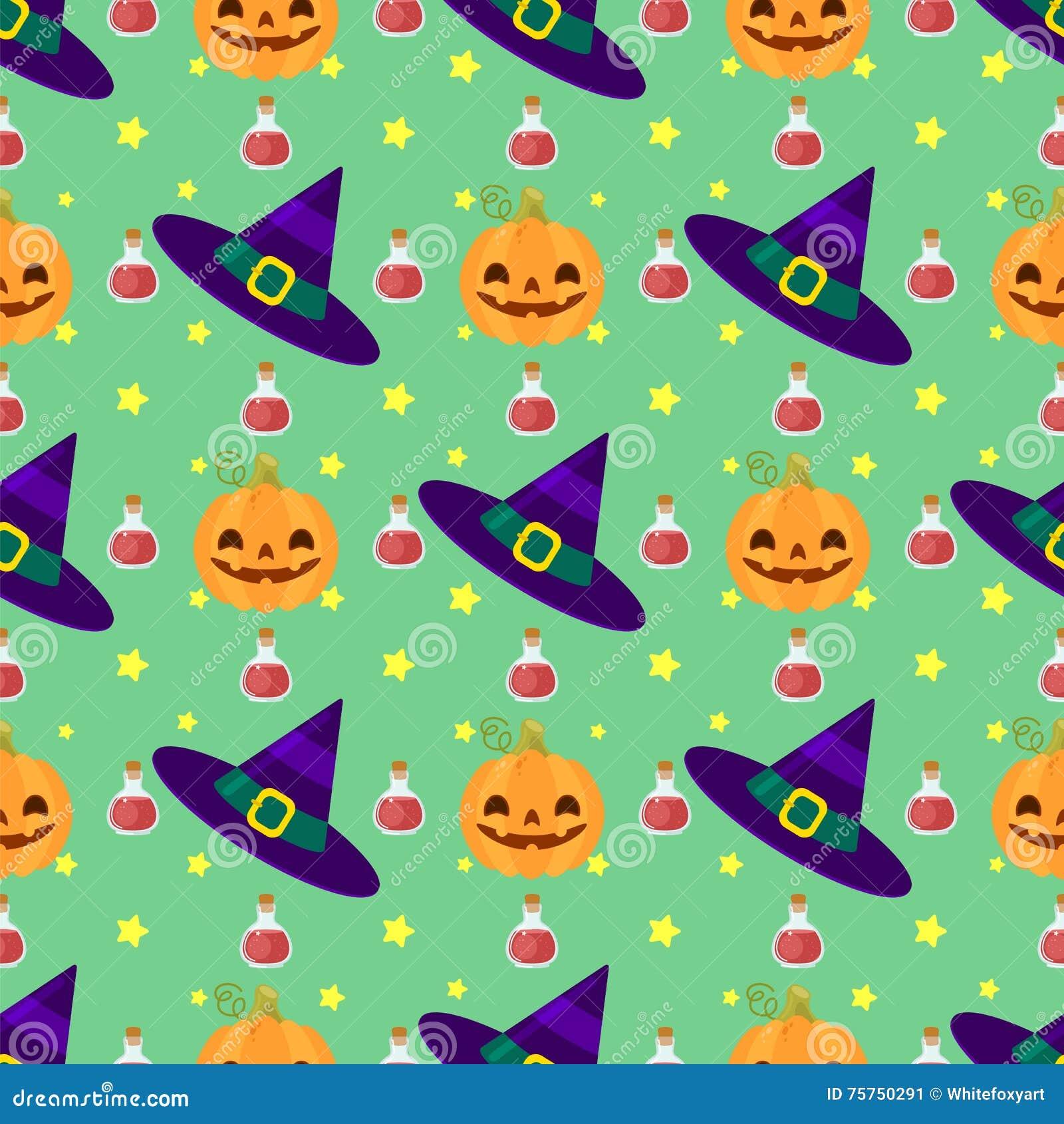 Lustiges Halloween-Muster mit Hexen Hut, Kürbise und Zaubertrank
