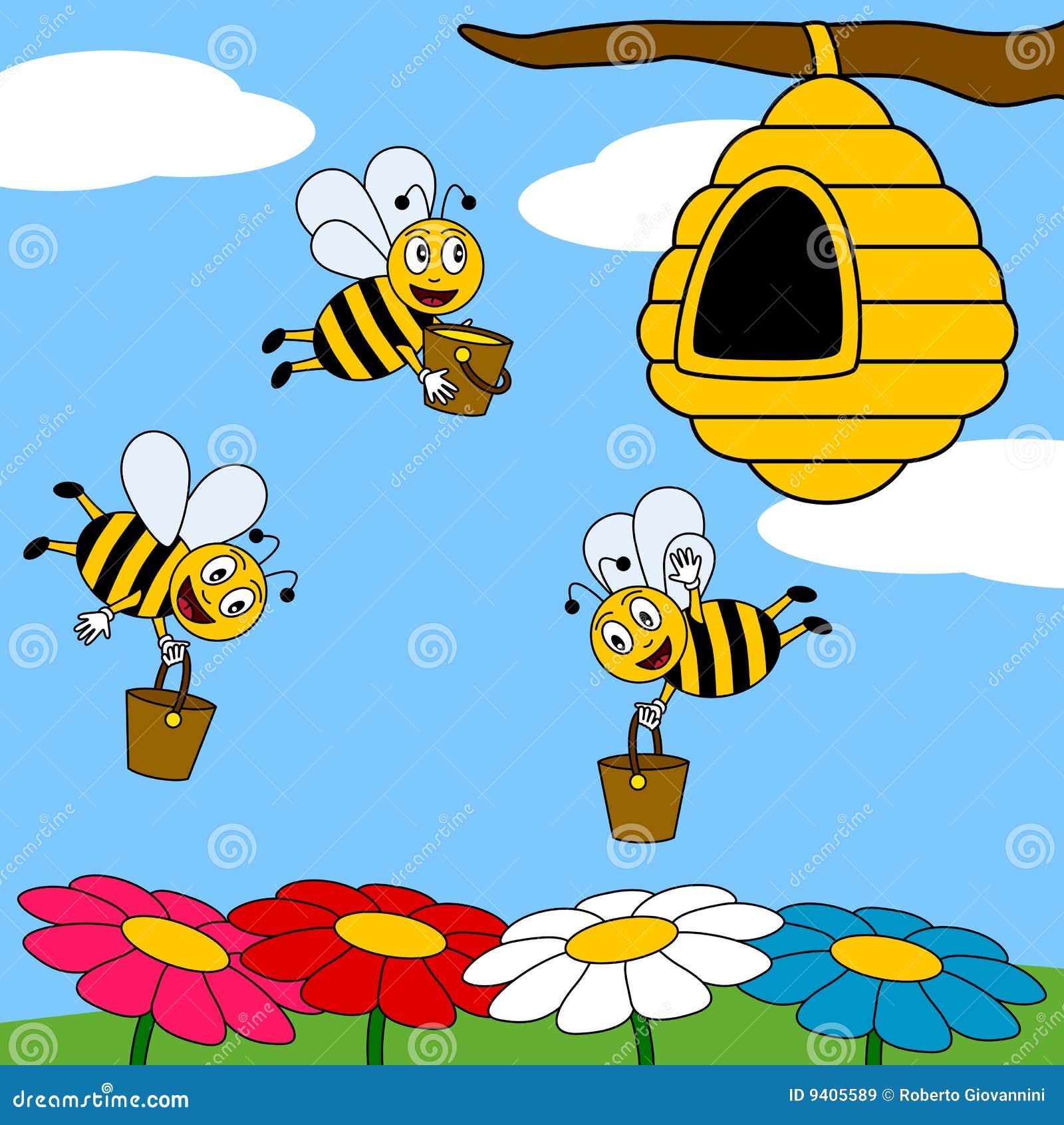 Lustiges Karikatur-Bienen-Arbeiten Vektor Abbildung ...