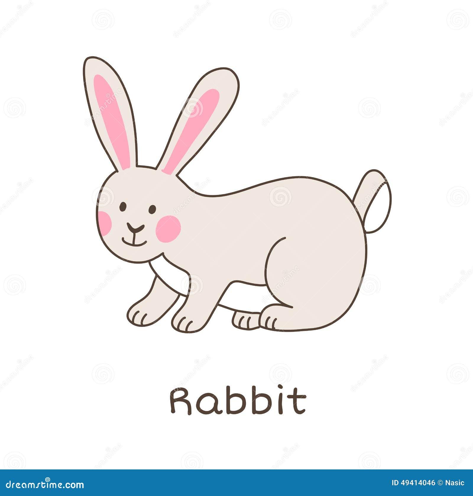 Download Lustiges Karikaturkaninchen, Kinderillustration Vektor Abbildung - Illustration von tiere, bunt: 49414046