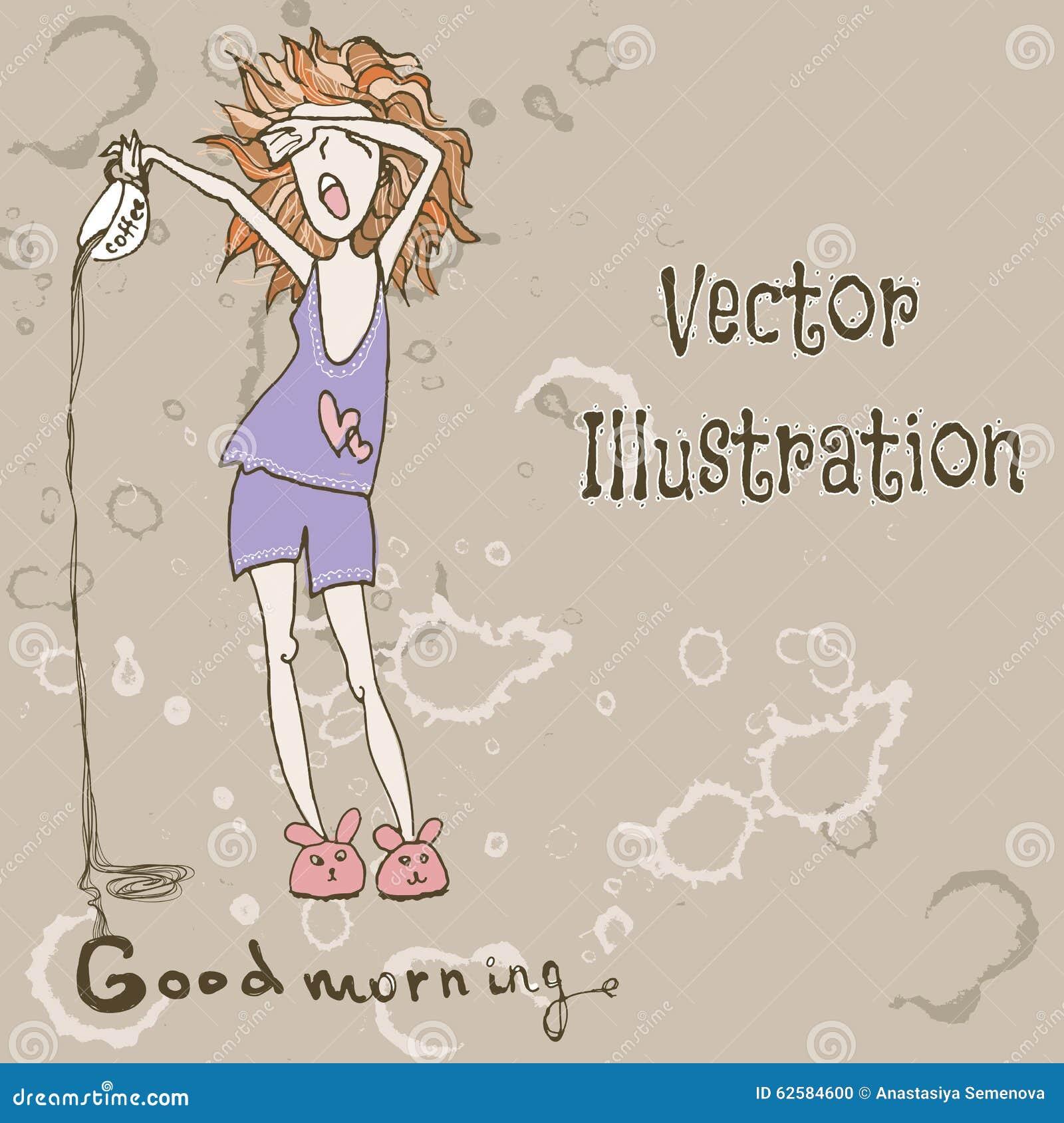 Lustiges Nettes Mädchen Mit Morgen Kaffee Guten Morgen Vektor Illust