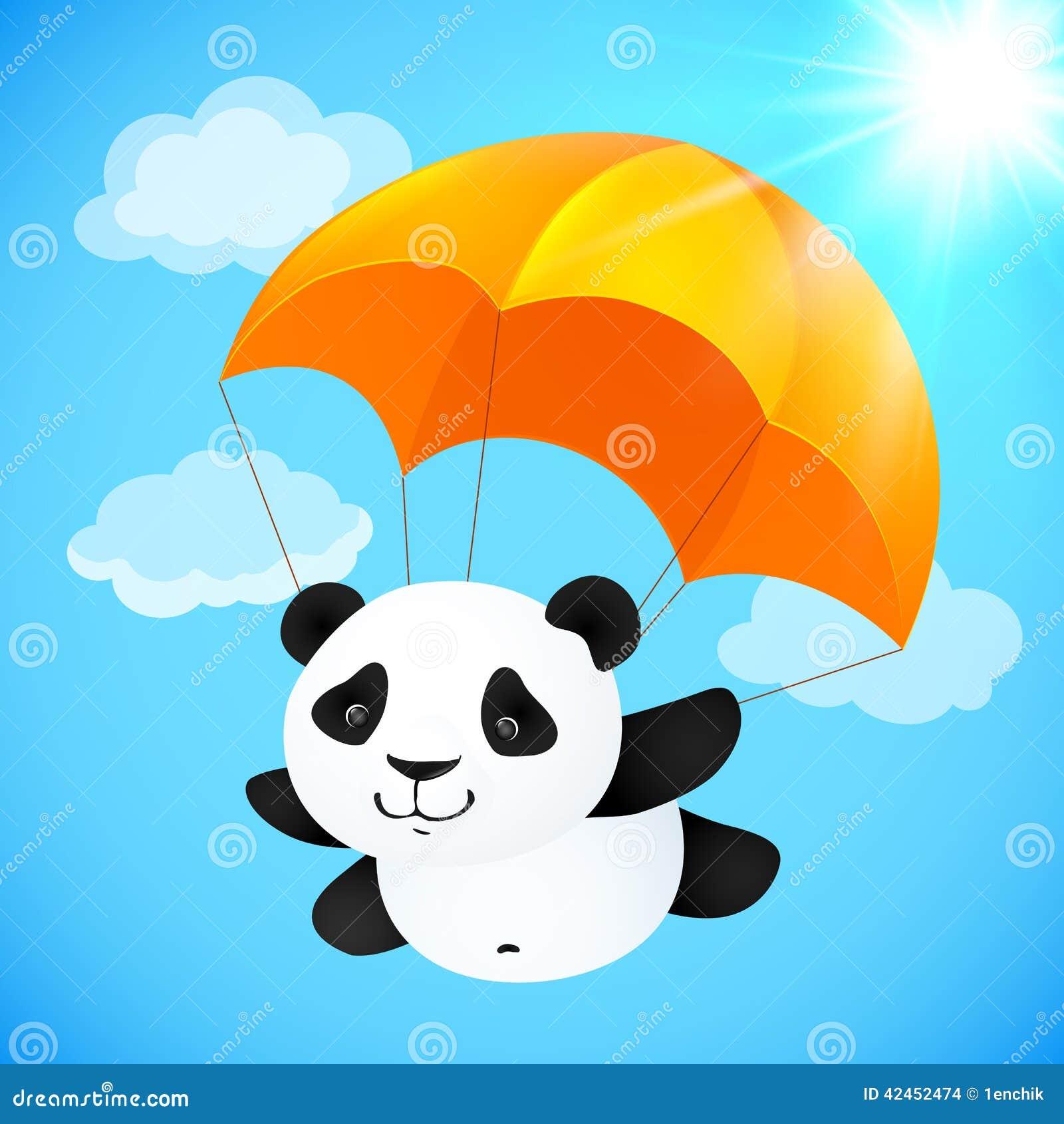 Lustiges nettes Pandafliegen mit orange Fallschirm