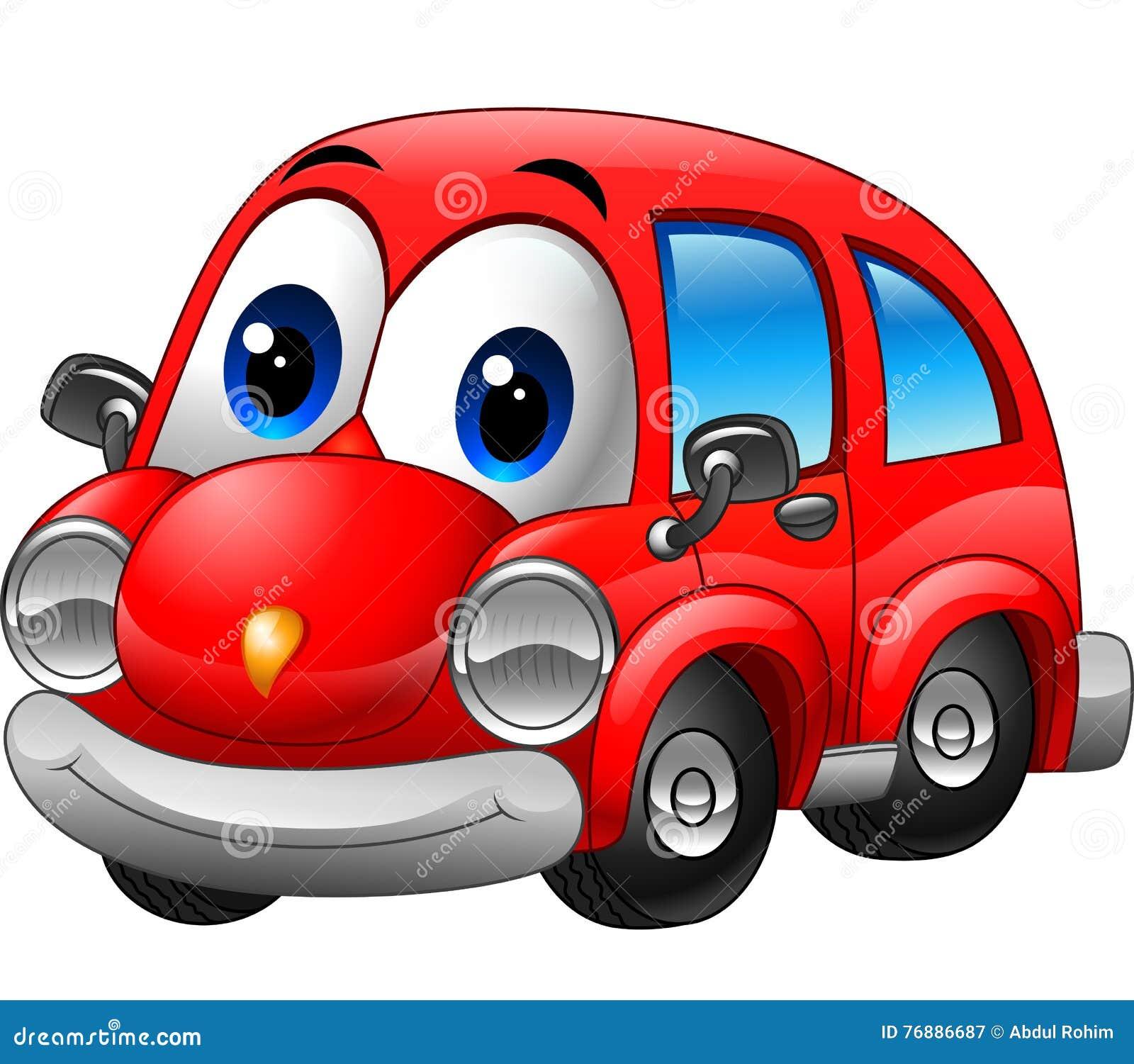 Lustiges Rotes Auto Der Karikatur Vektor Abbildung