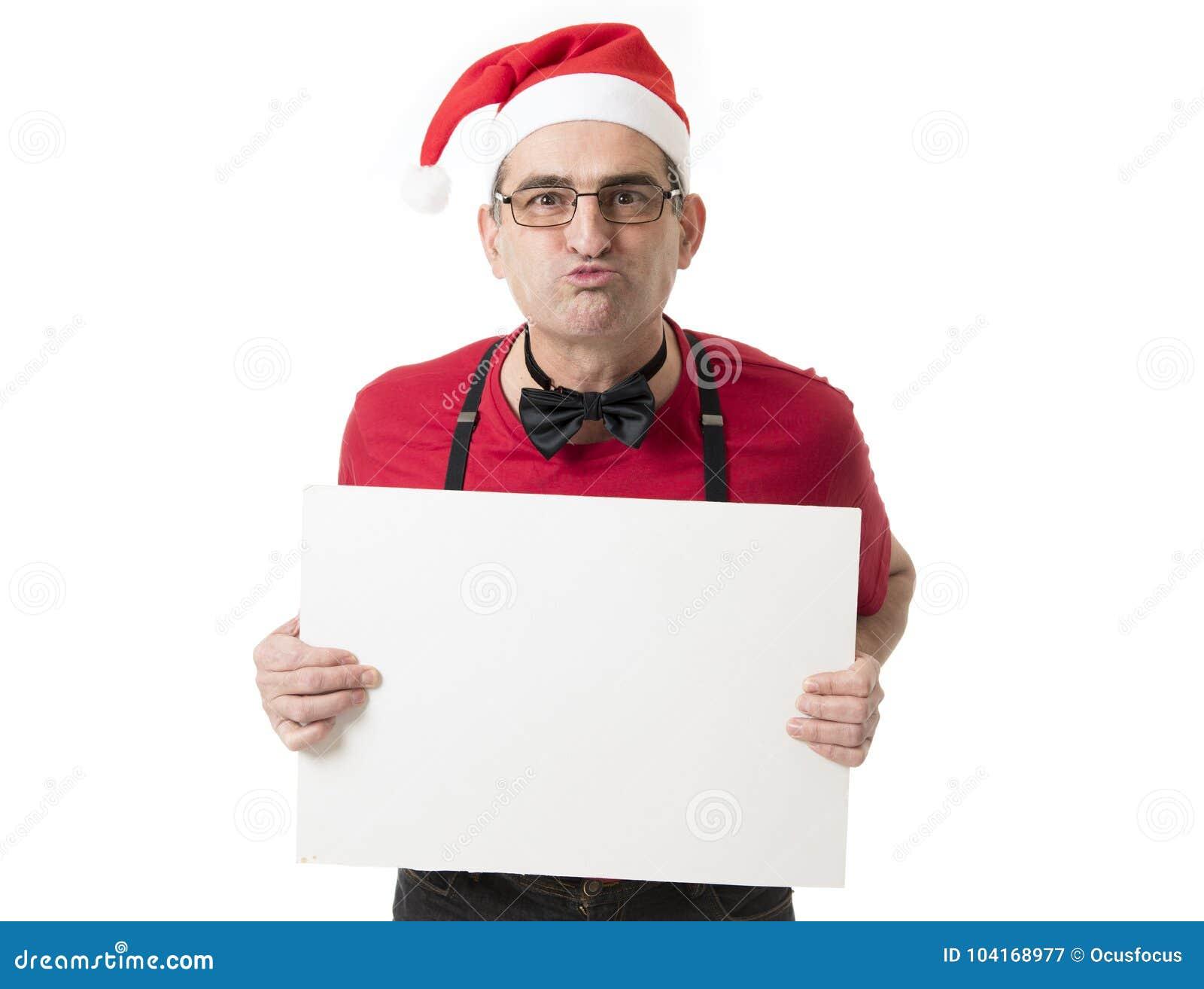 Lustiges 40s zum verrückten Mann der Verkäufe 50s in Santa Christmas-Hut mit BO
