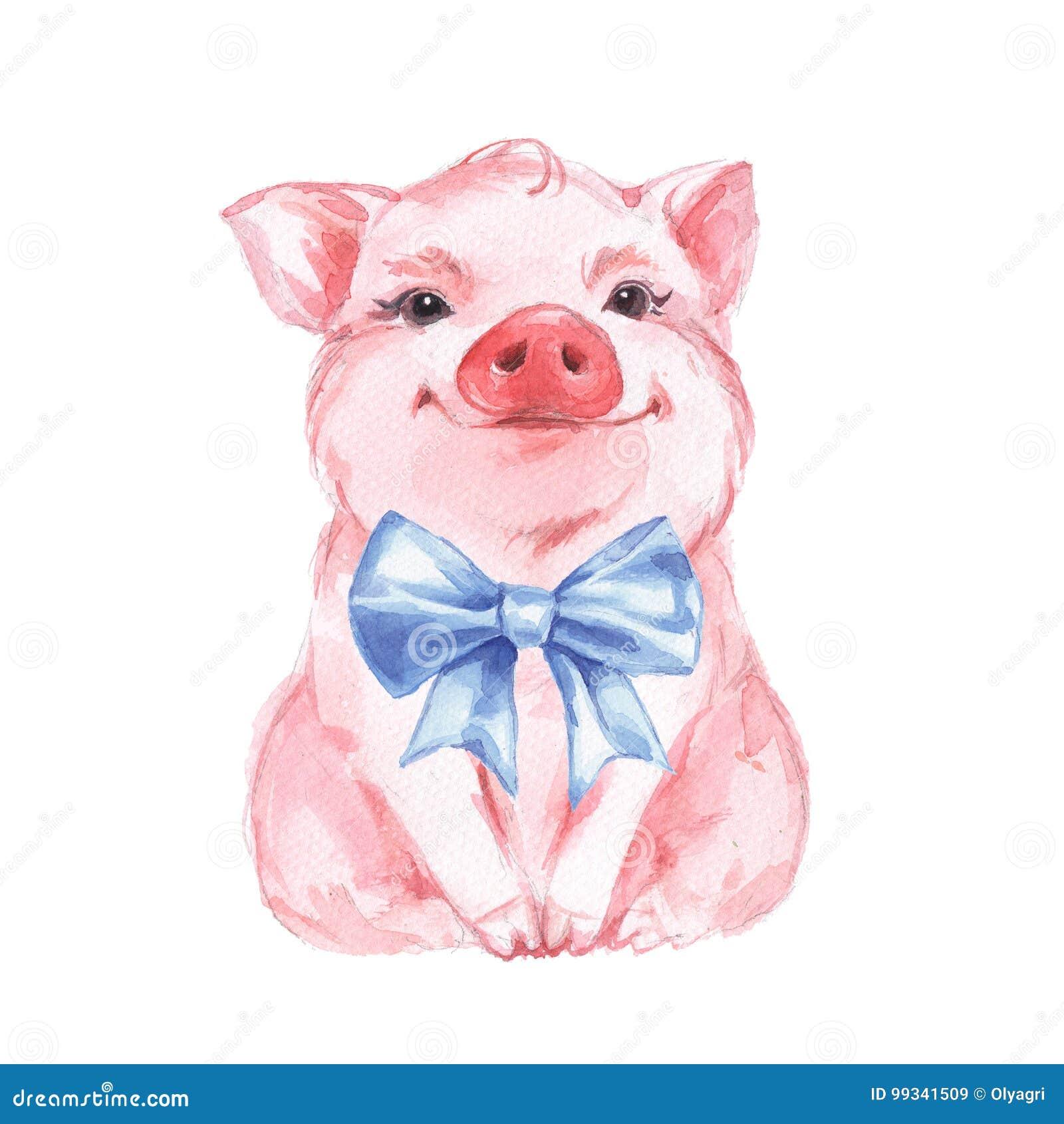 Lustiges Schwein und blauer Bogen