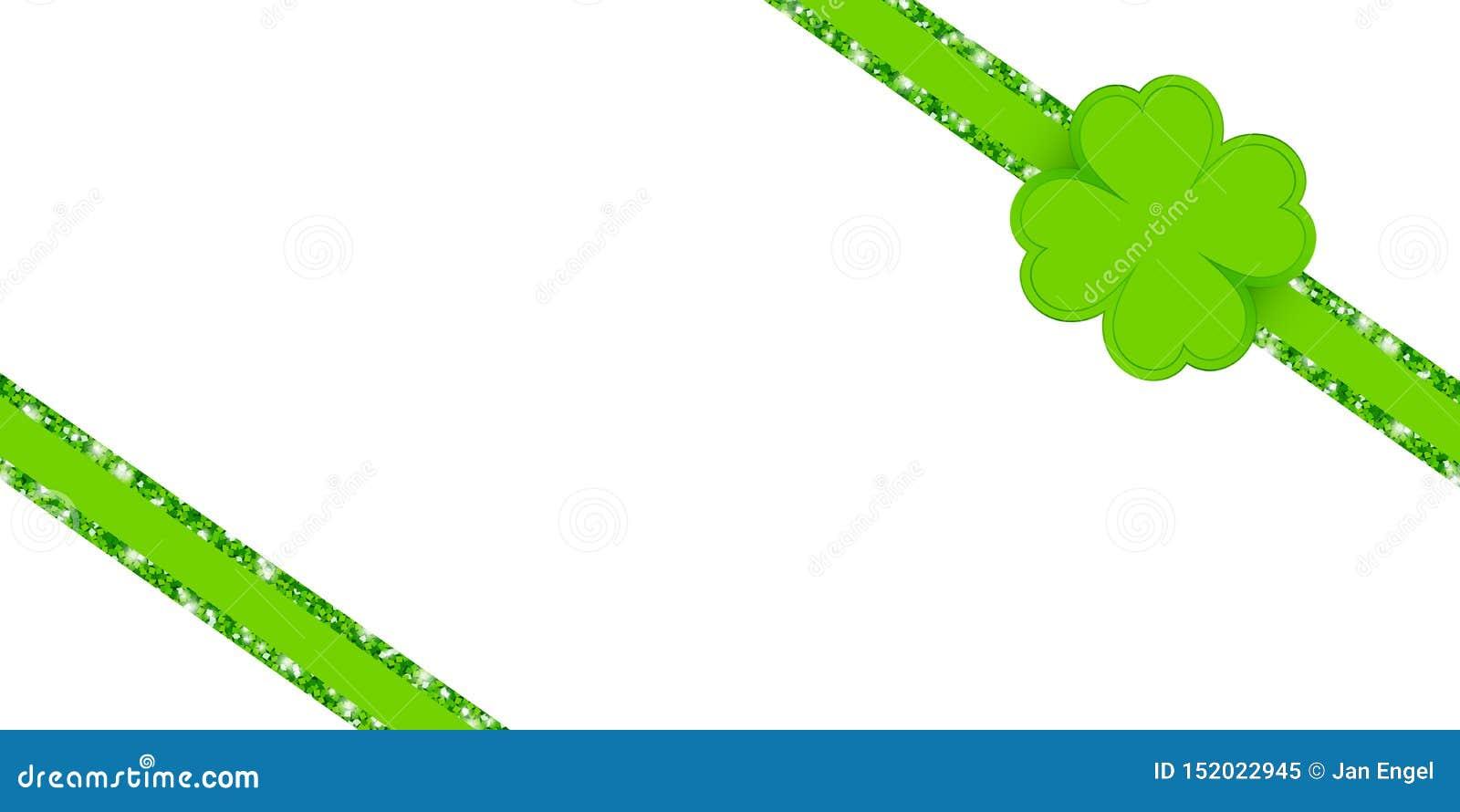 Lustro diagonale della foglia del trifoglio di verde del nastro di scintillio