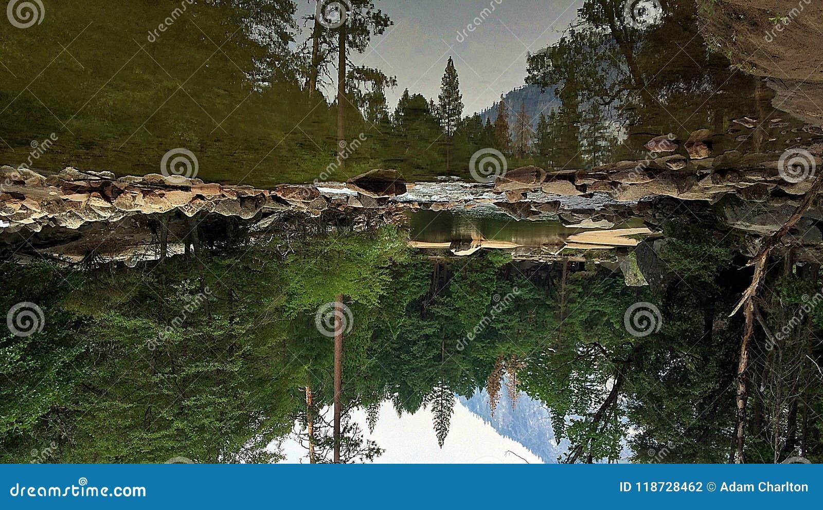 Lustrzany jeziorny Yosemite do góry nogami