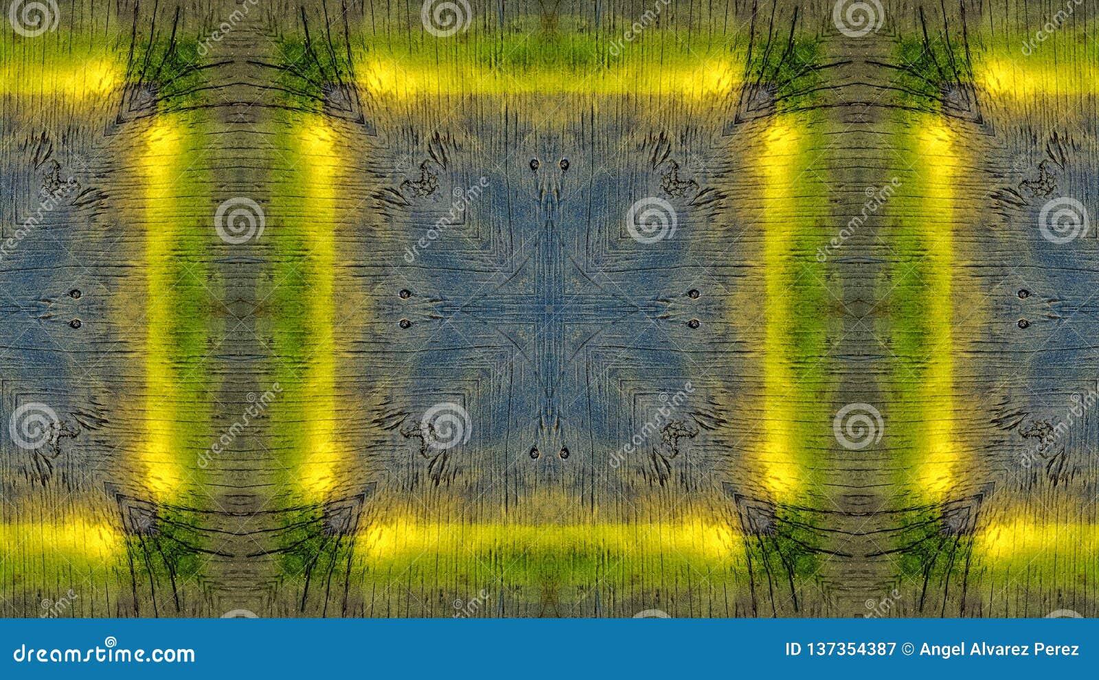 Lustrzany skutek na błękitnej drewnianej desce z żółtymi liniami
