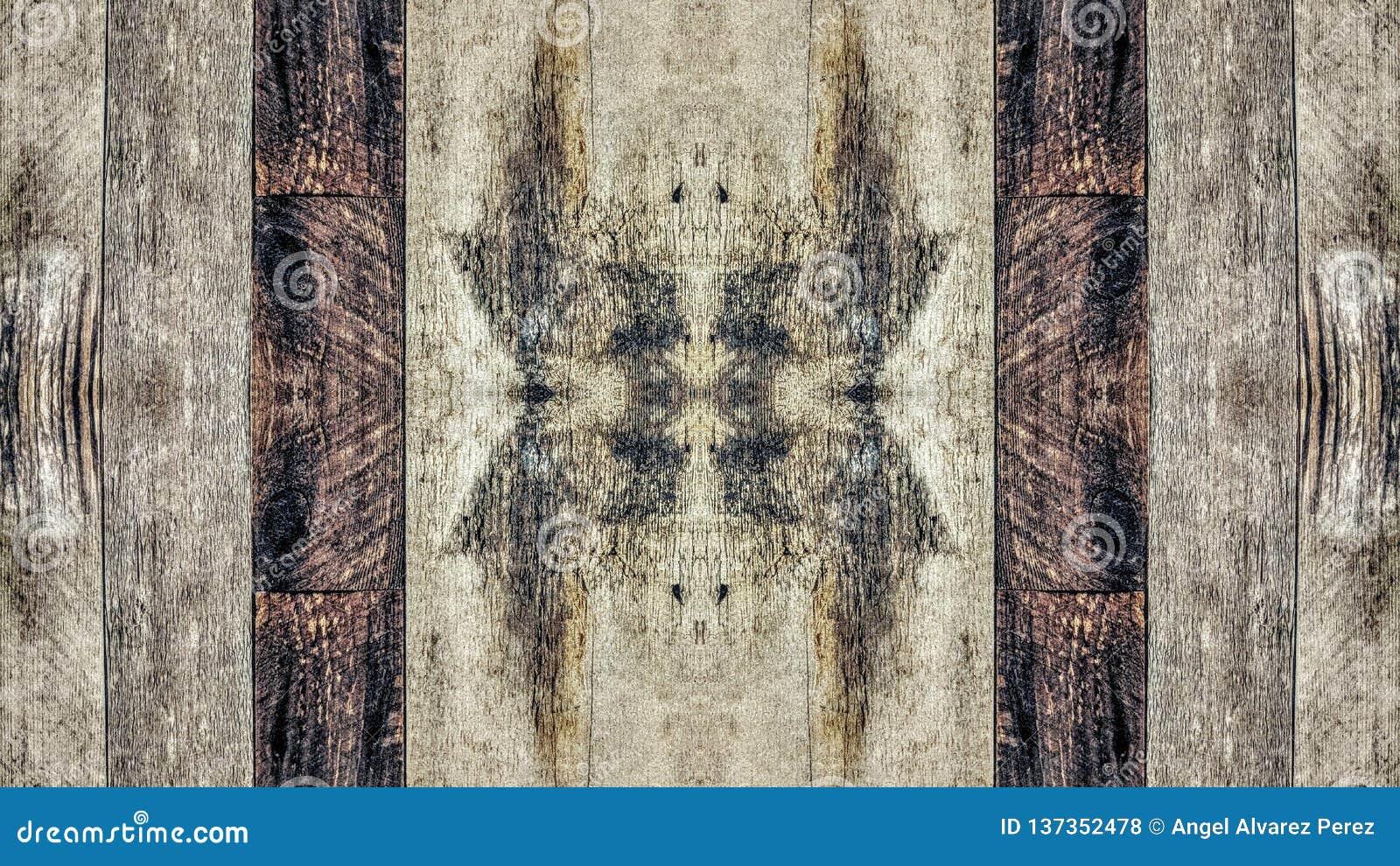 Lustrzany skutek na rocznik drewnianej desce