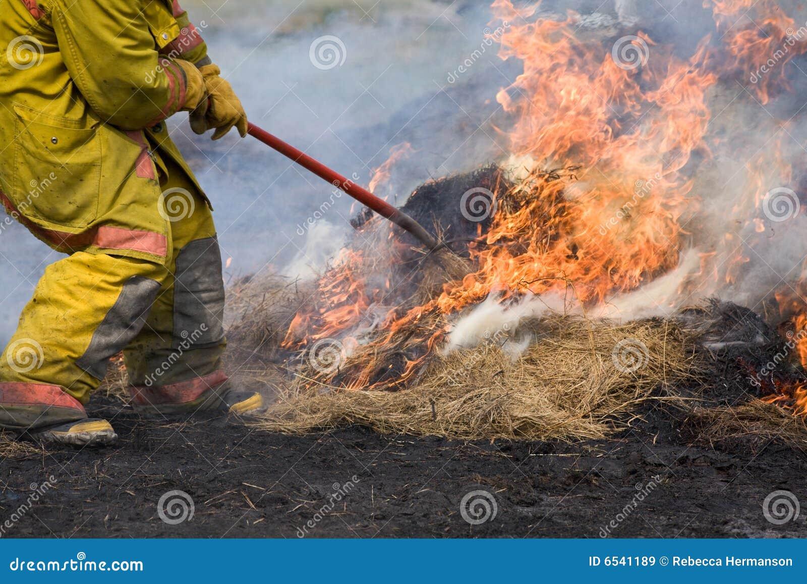 Lutador de incêndio que põr para fora o incêndio.