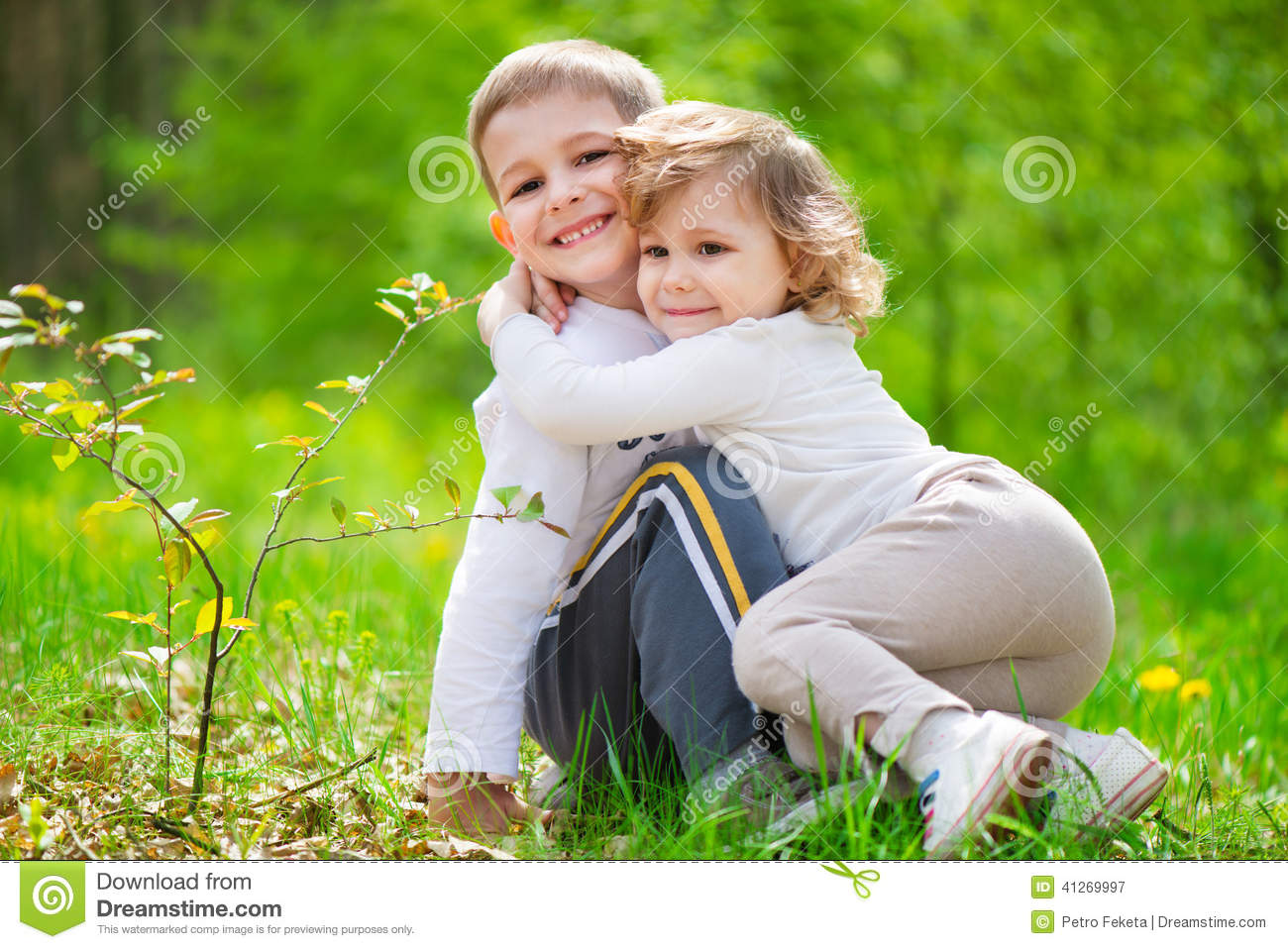 Lute Little Brother And Sister At Forest Stock Image Image Of