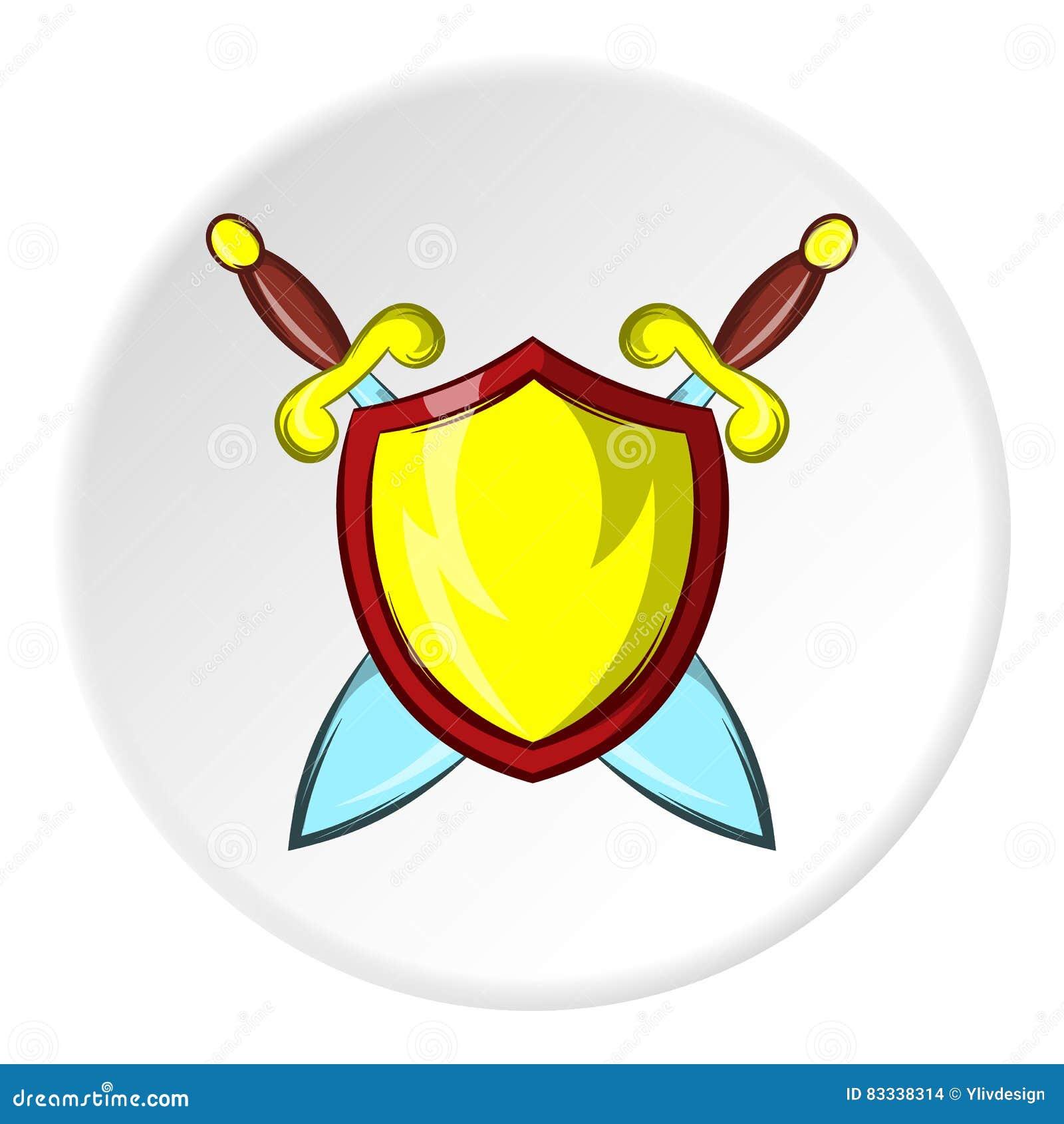 Lute o protetor com espadas ícone, estilo dos desenhos animados