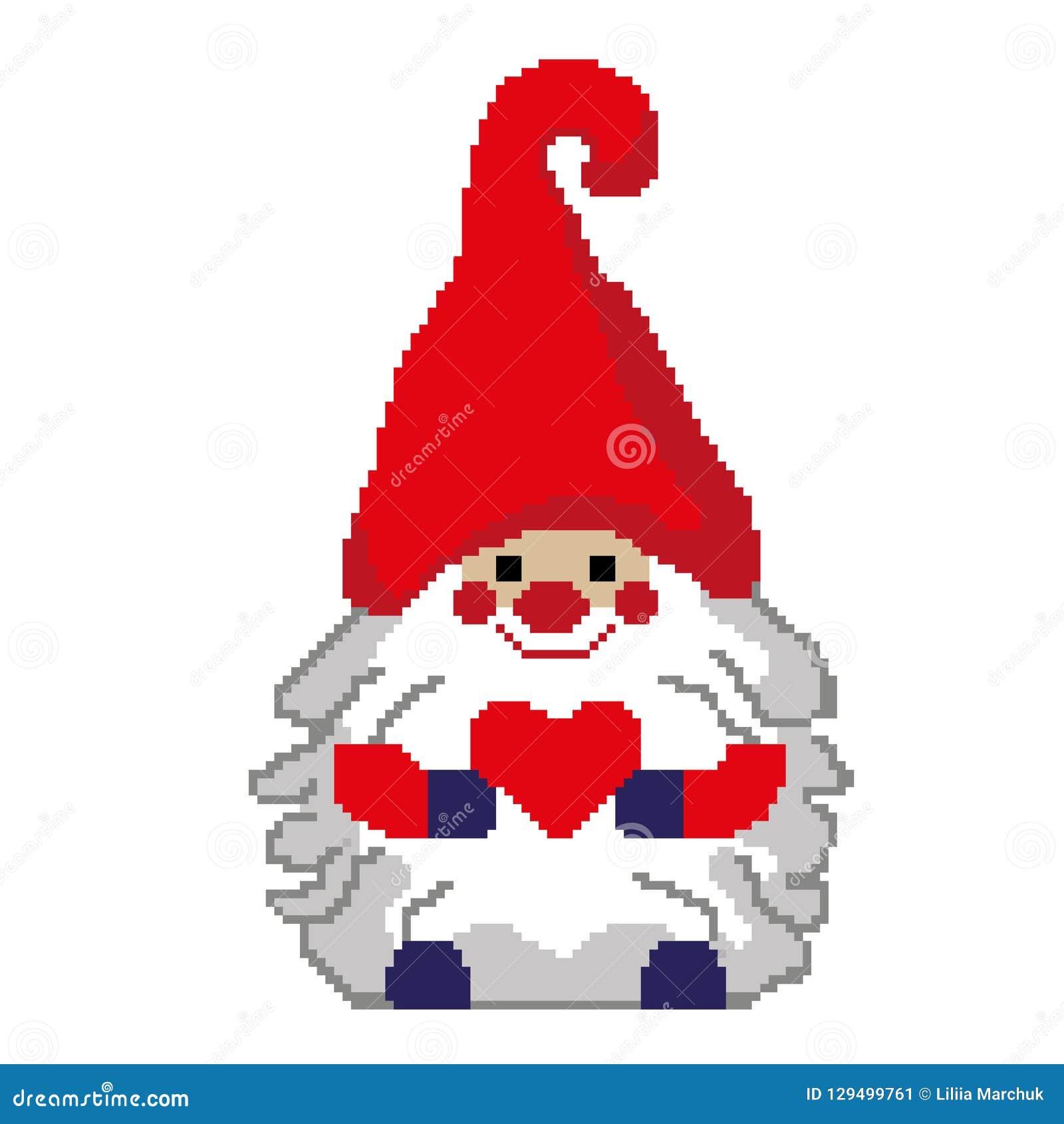 Lutin De Santa Avec Un Coeur Peint Dans Les Places Pixels